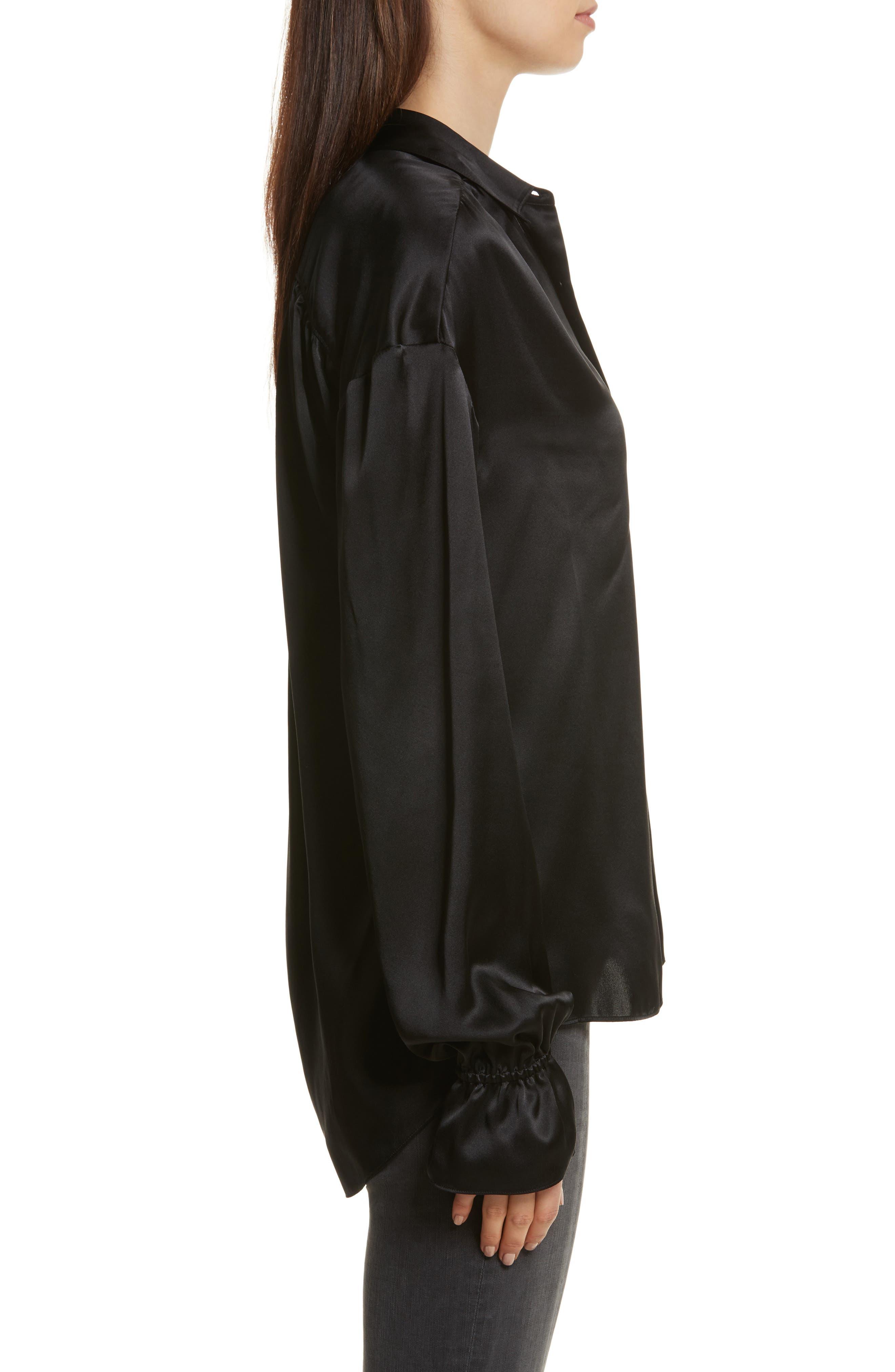 Alternate Image 4  - FRAME Flare Cuff Solid Silk Shirt