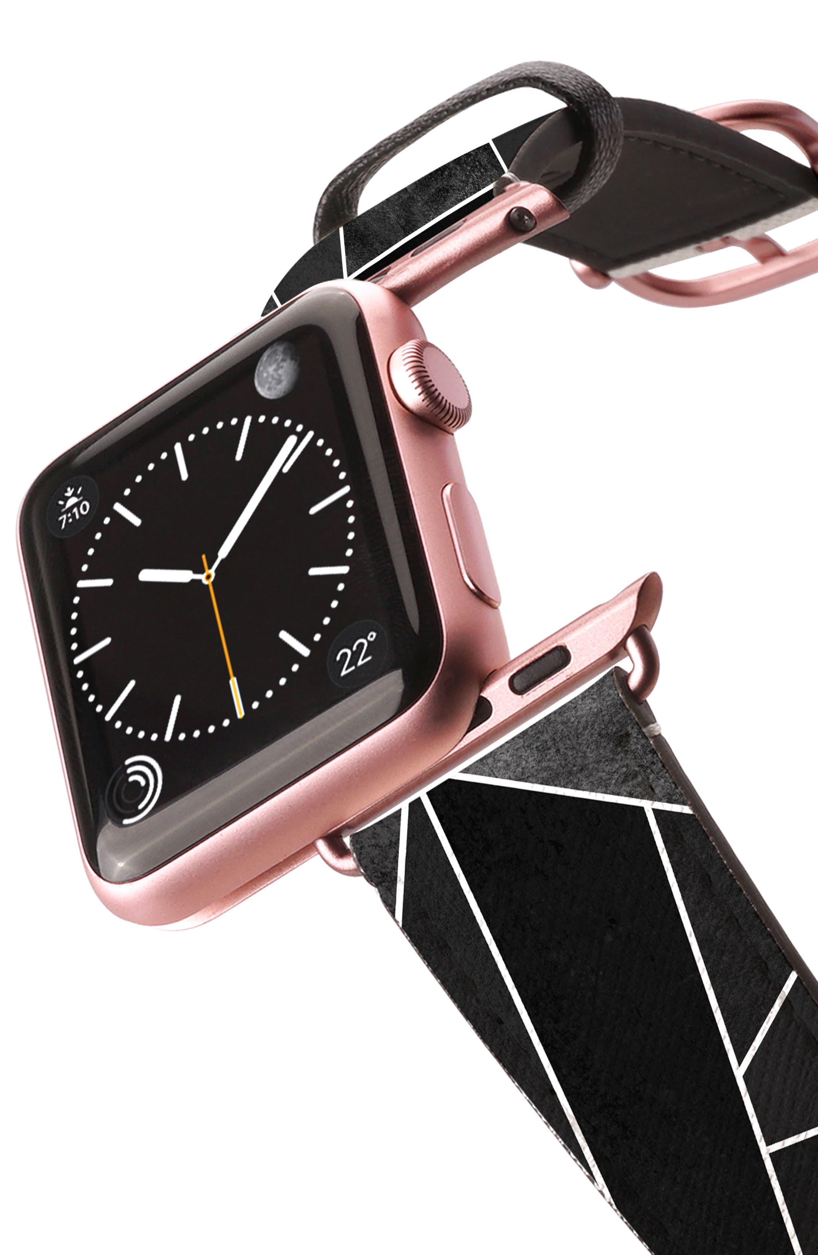 Saffiano Faux Leather Apple Watch Strap,                             Alternate thumbnail 2, color,                             Black Geometric