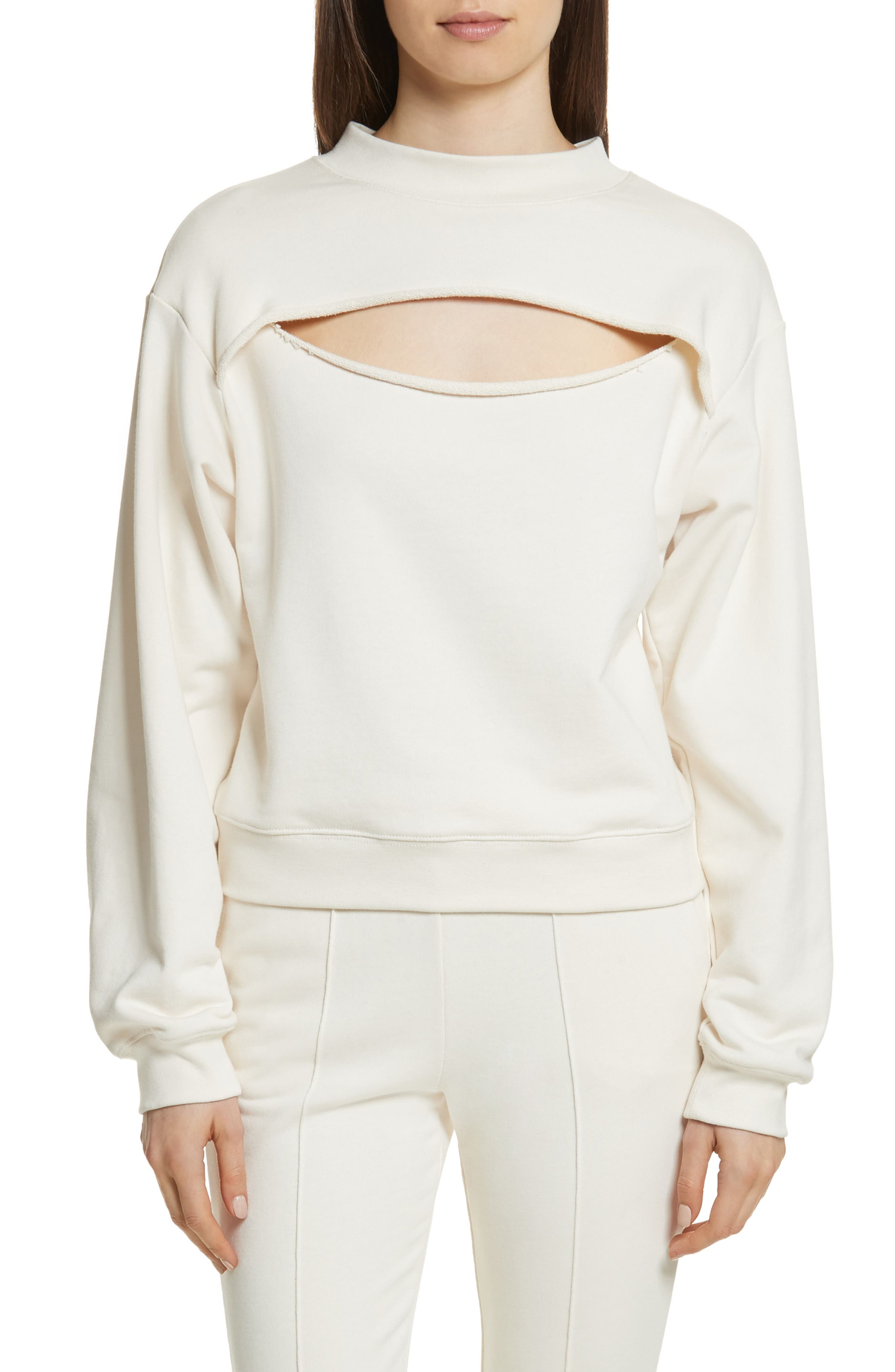 Slit Front French Terry Top,                         Main,                         color, Ivory