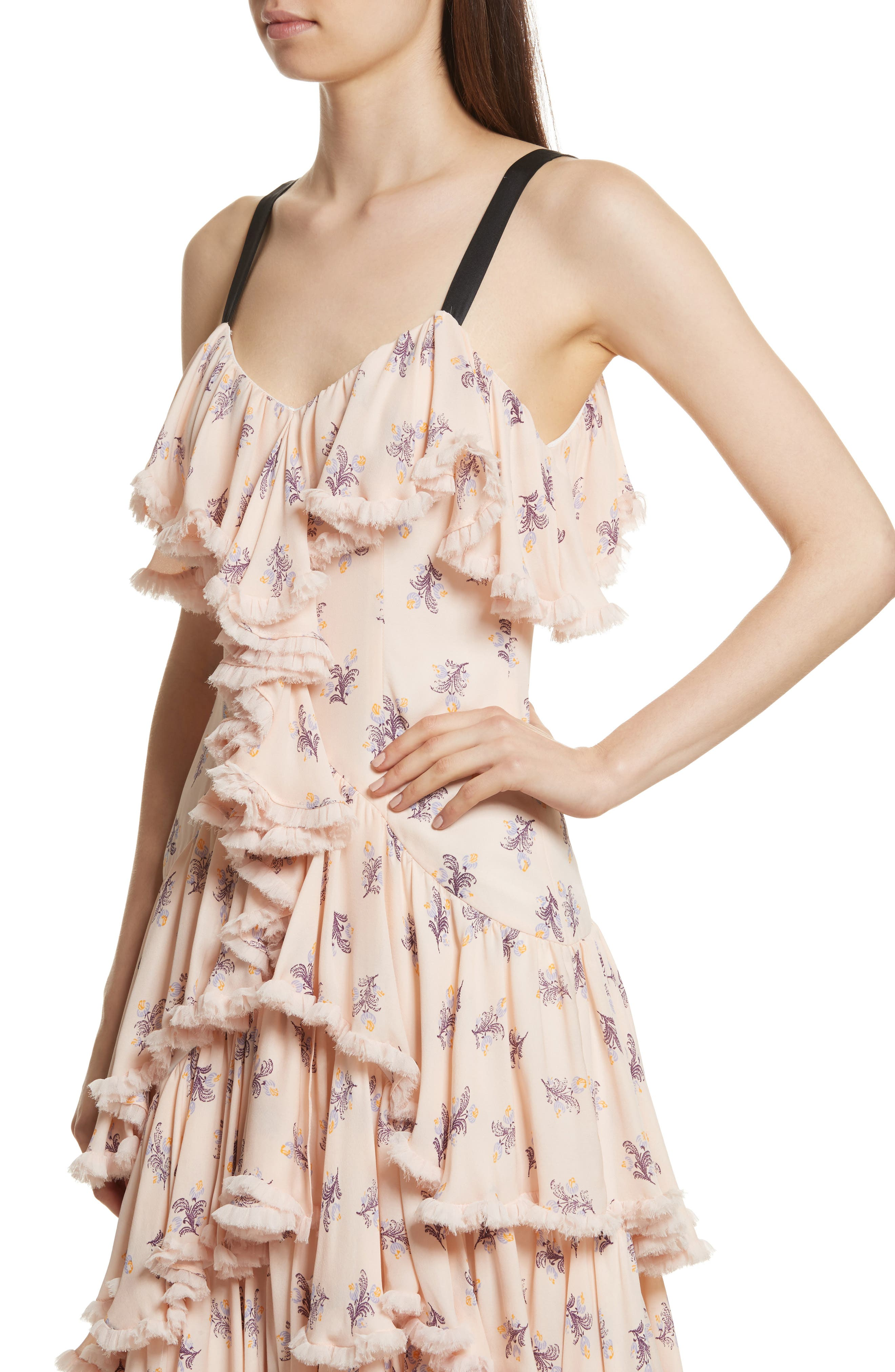 Edie Floral Print Tiered Silk Dress,                             Alternate thumbnail 4, color,                             Pearl Blush Multi