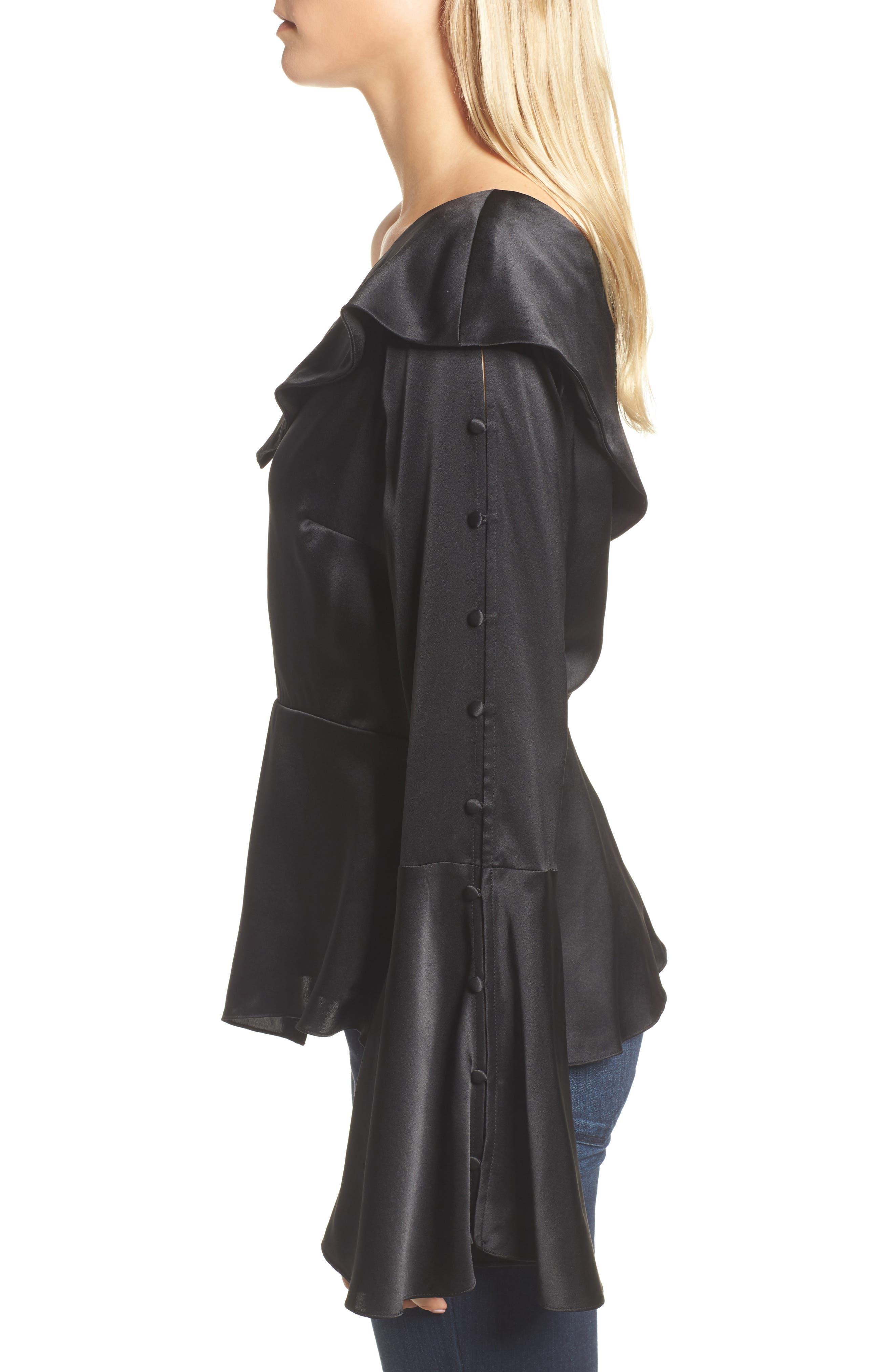 Cache One-Shoulder Silk Blouse,                             Alternate thumbnail 3, color,                             Black