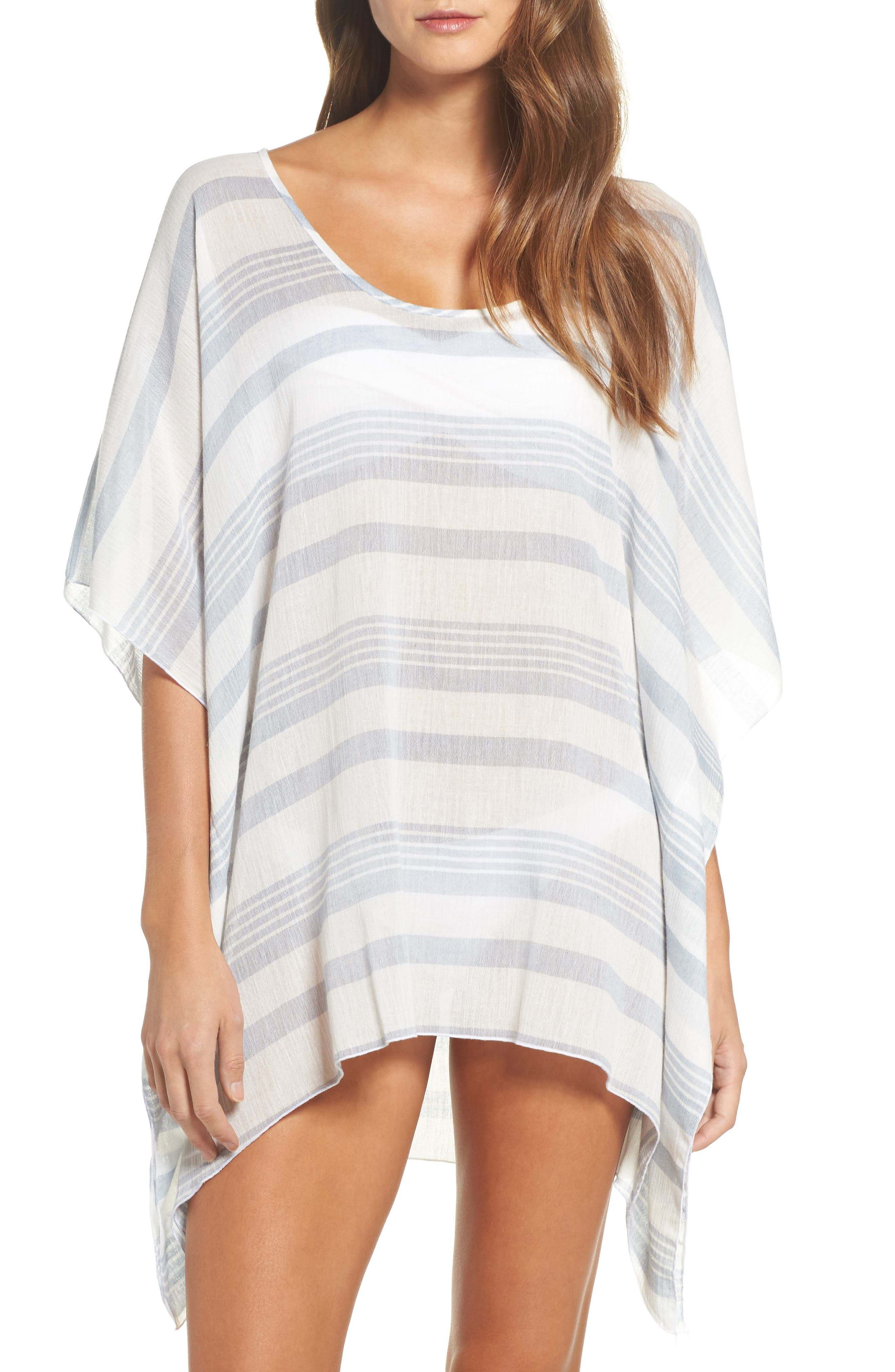 Stripe Poncho Cover-Up,                         Main,                         color, Dusty Blue Stripe