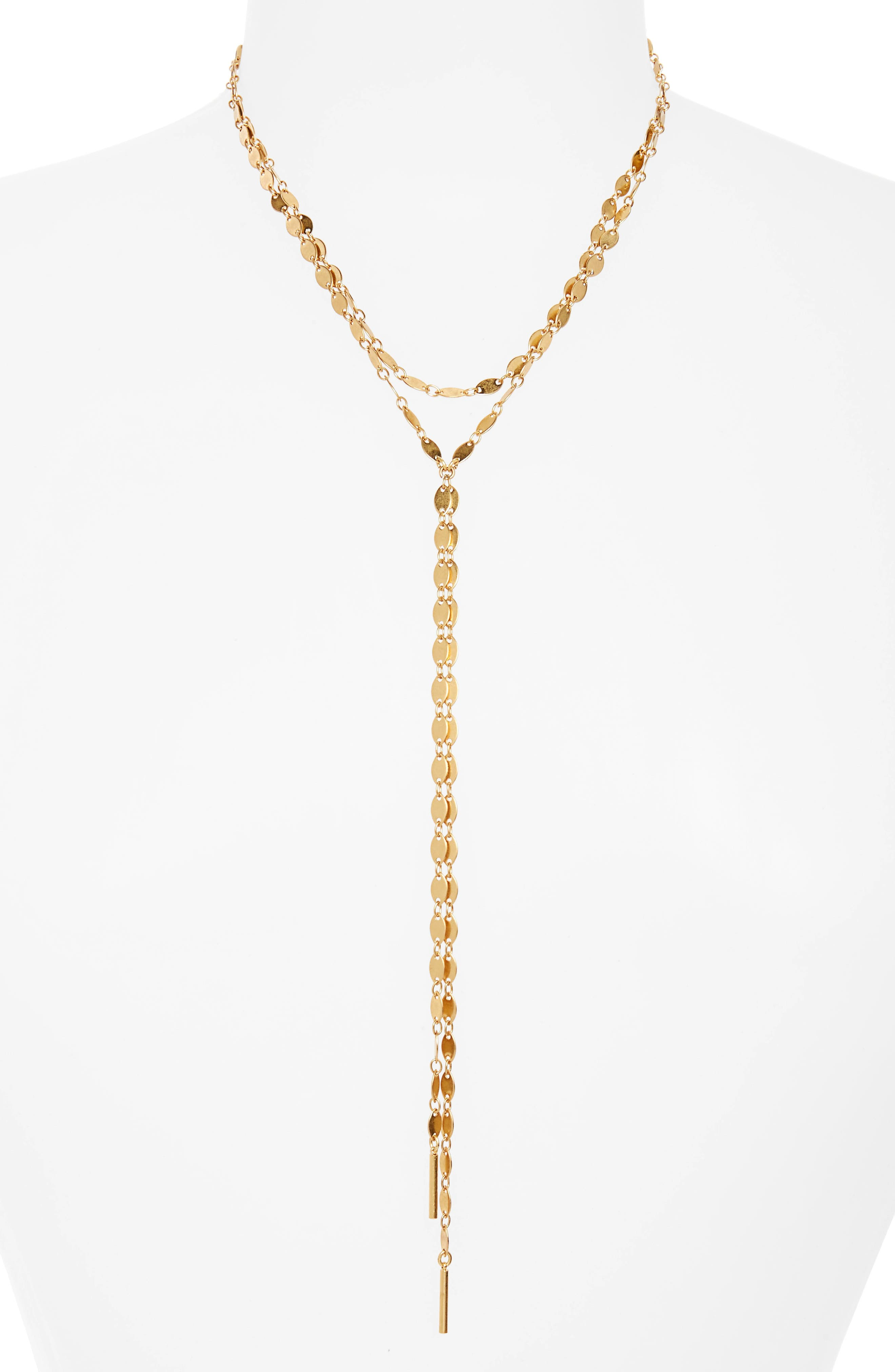 Waterfall Y-Necklace,                         Main,                         color, Gold Ox