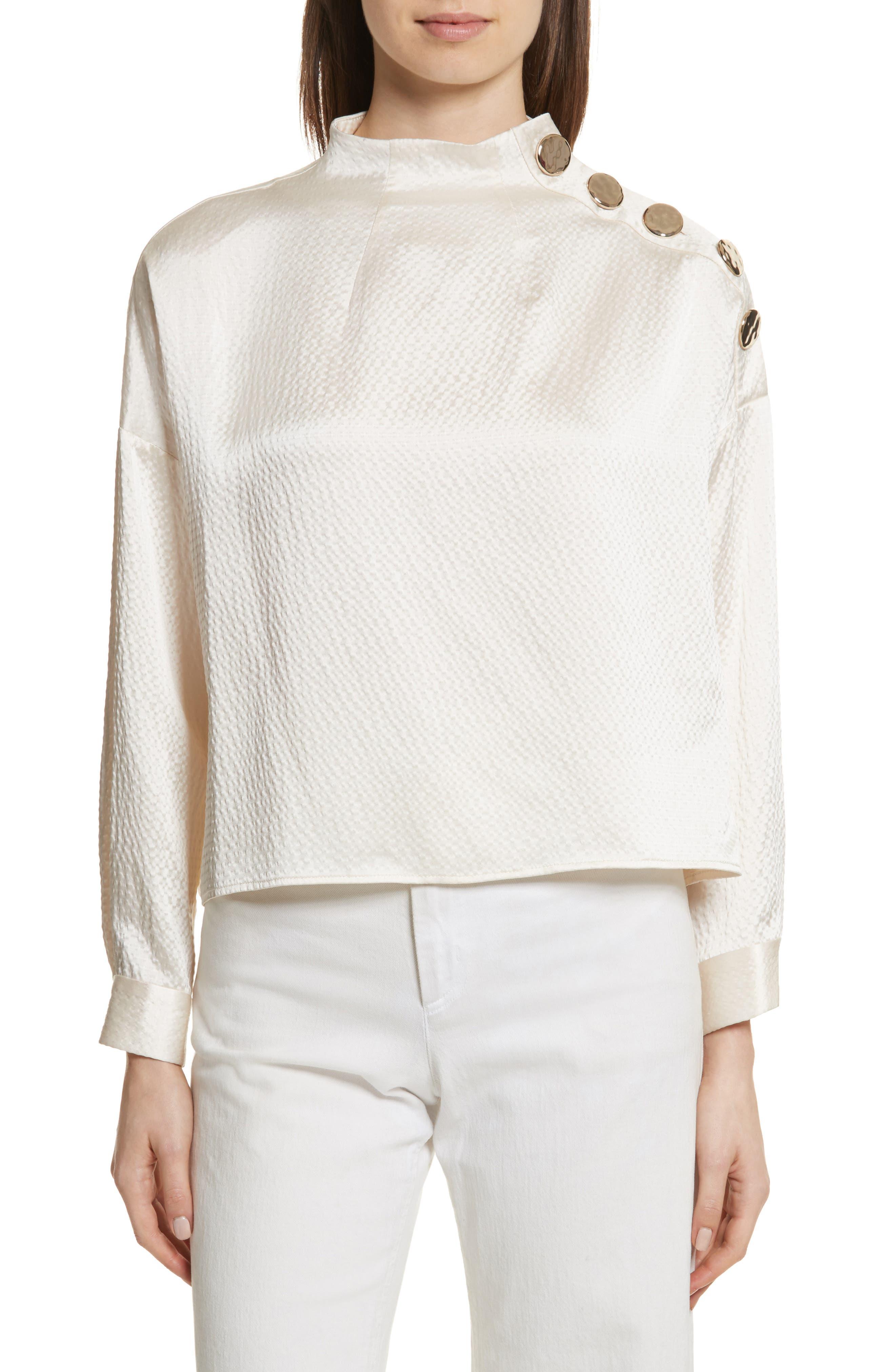 Esker Silk Top,                         Main,                         color, Ivory