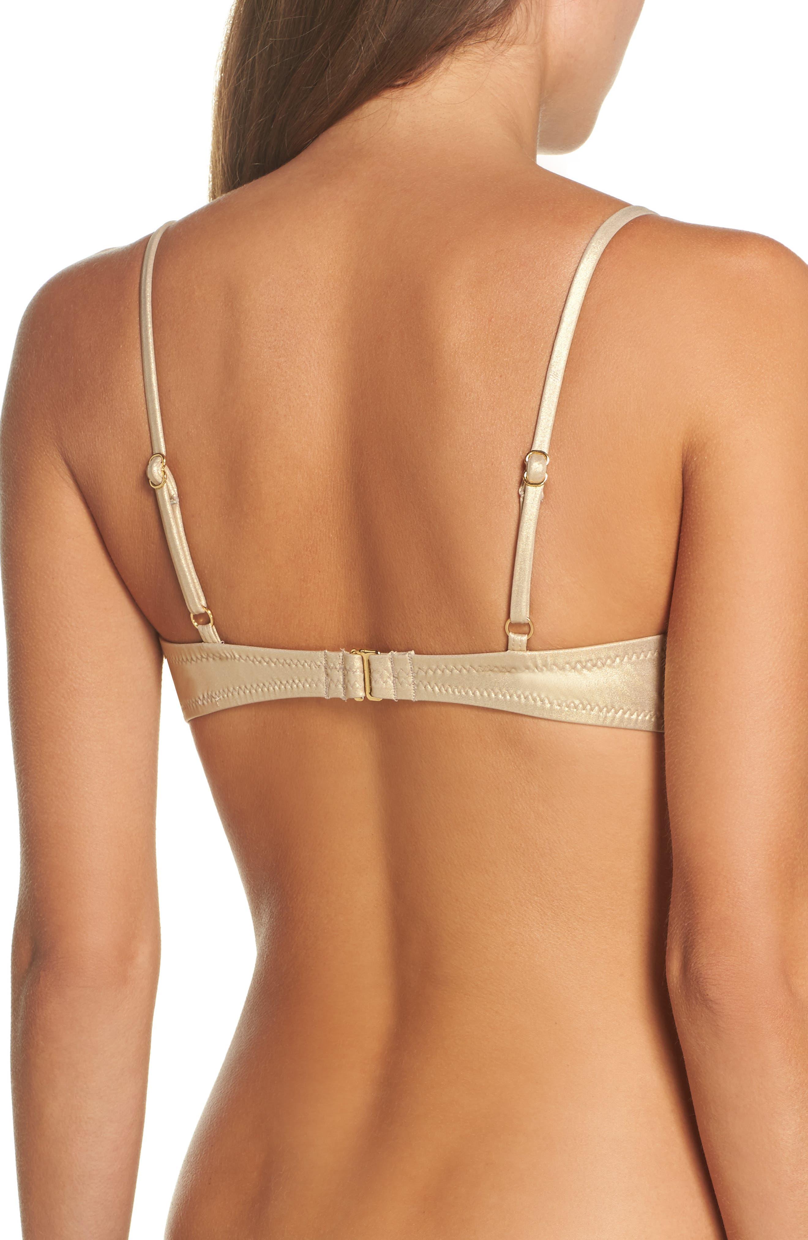 Golden Medallion Bikini Top,                             Alternate thumbnail 2, color,                             Gold
