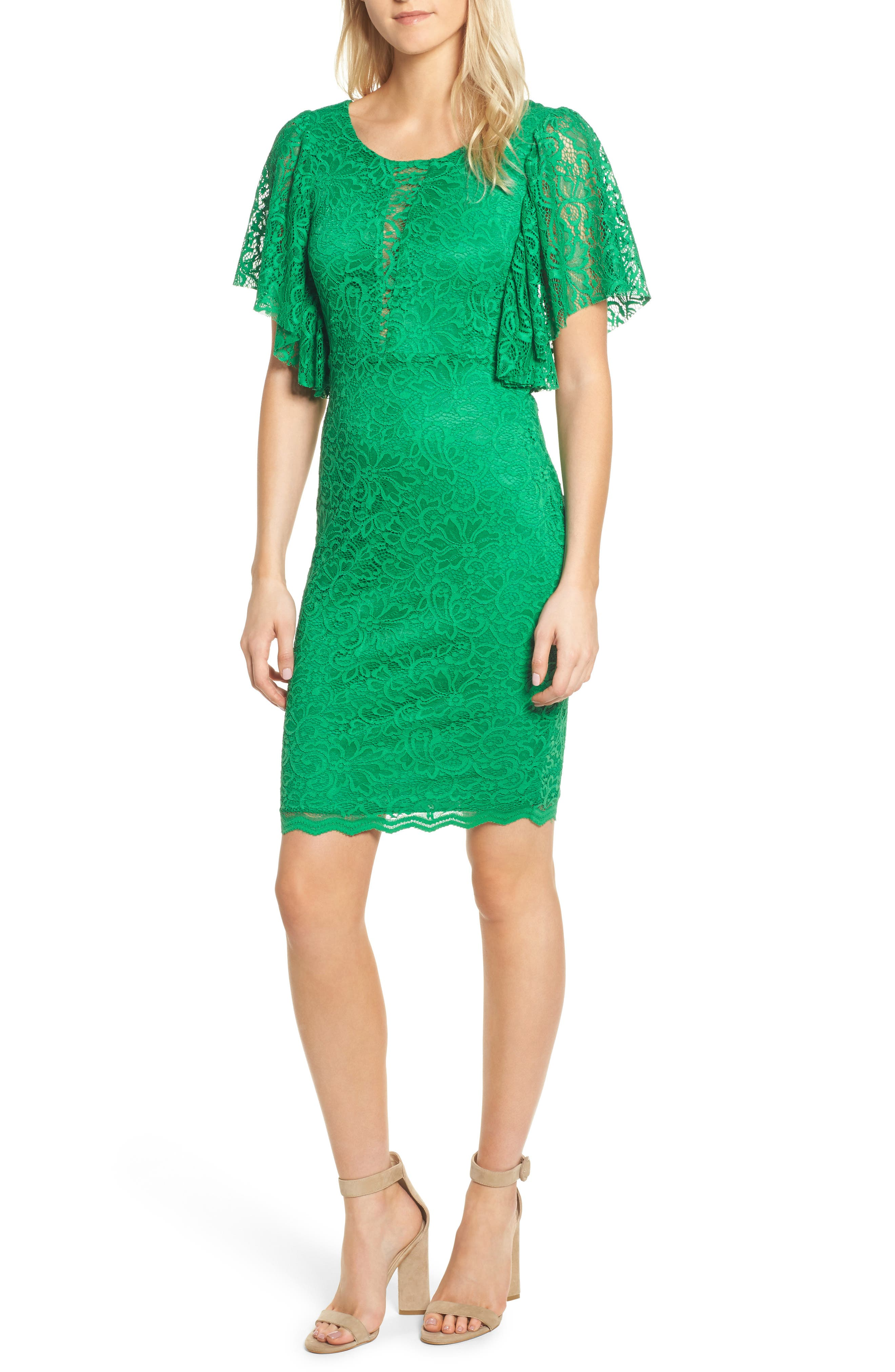 Lace Sheath Dress,                             Main thumbnail 1, color,                             Kelly Green