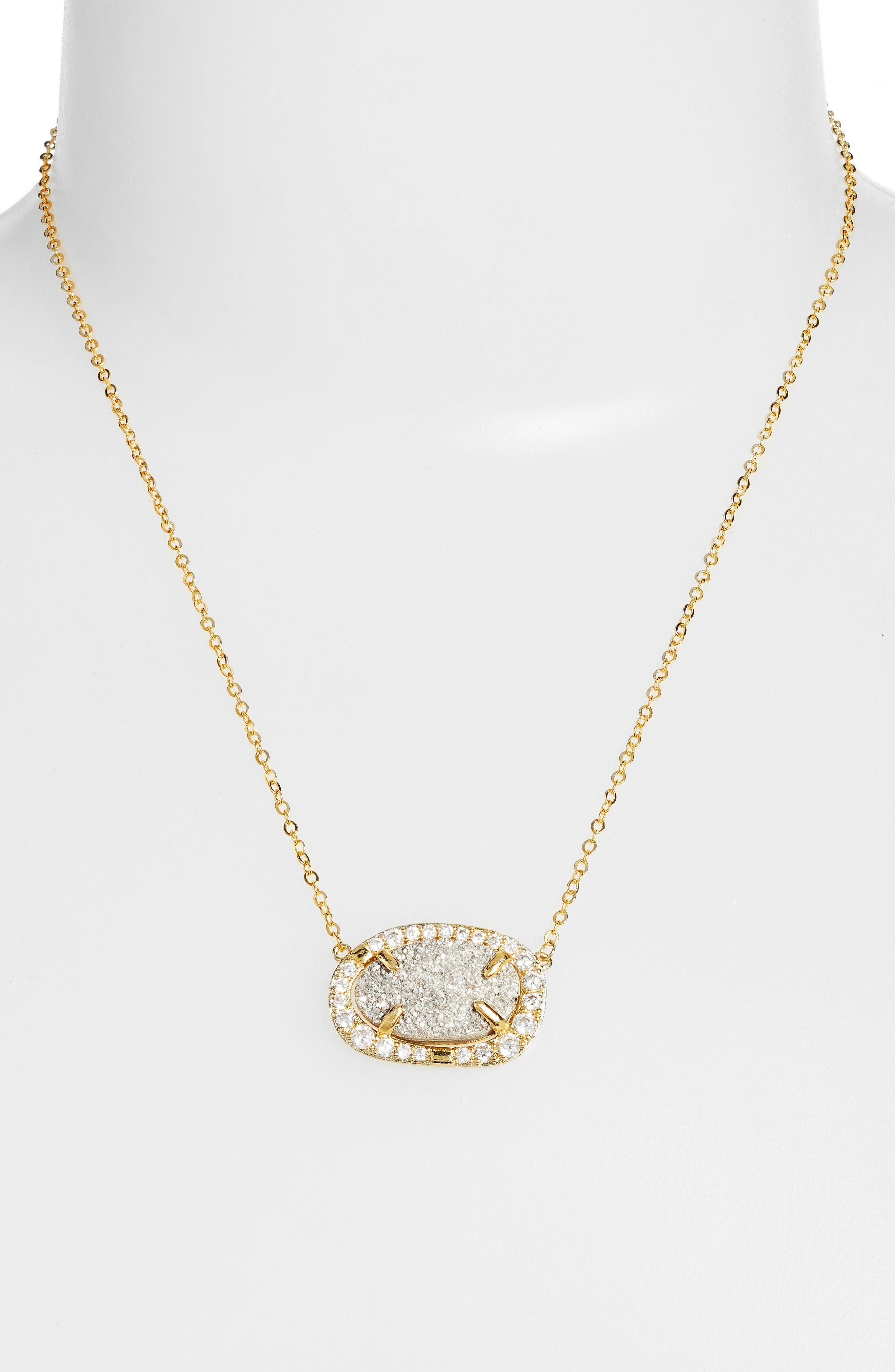 Aviva Pendant Necklace,                             Alternate thumbnail 2, color,                             Grey Druzy/ Gold