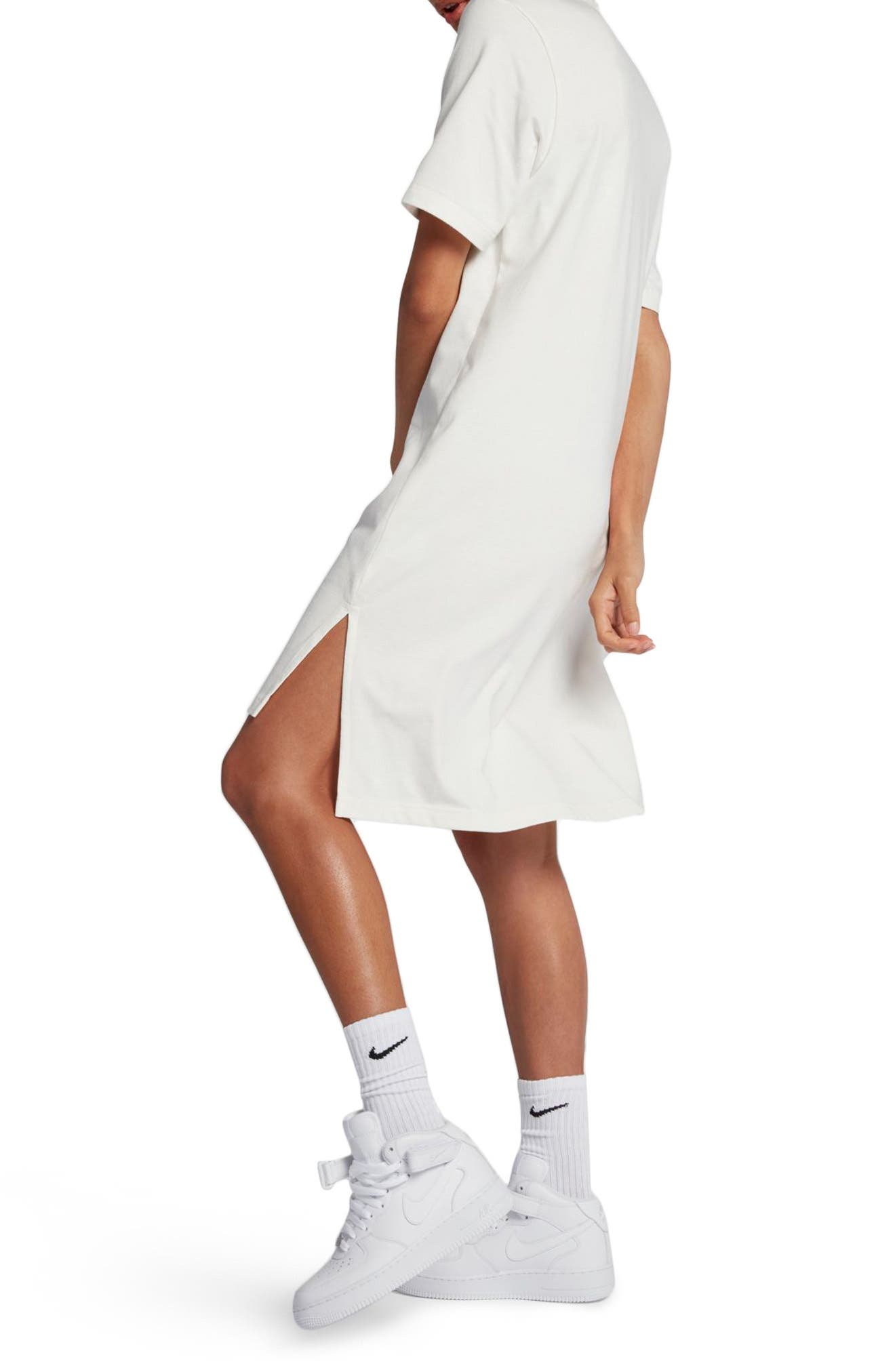 NikeLab Essentials T-Shirt Dress,                             Alternate thumbnail 4, color,                             Sail/ Black