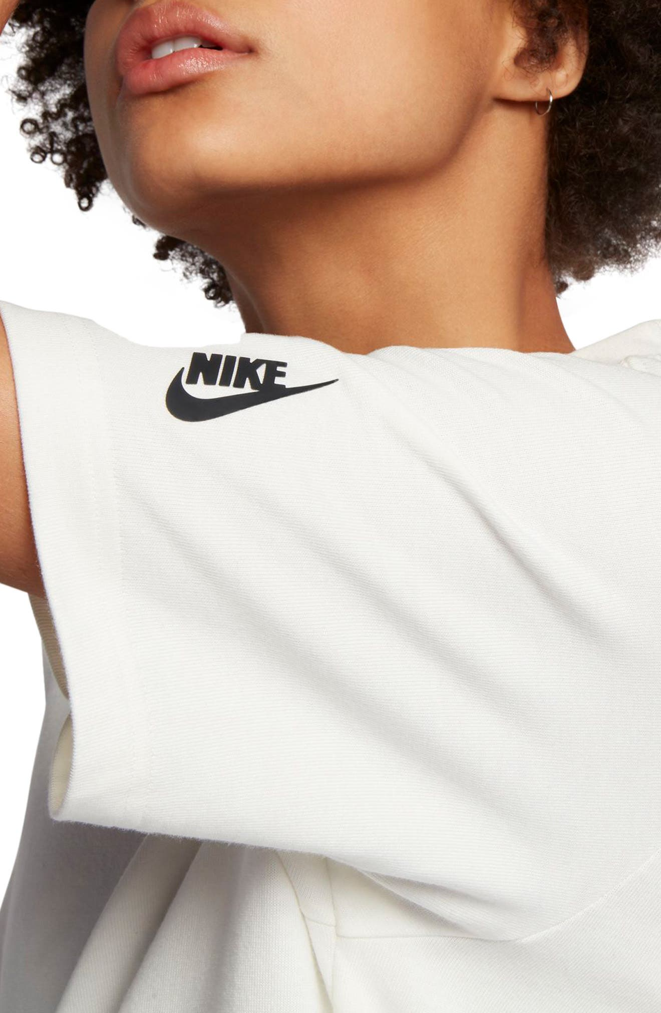 NikeLab Essentials T-Shirt Dress,                             Alternate thumbnail 5, color,                             Sail/ Black