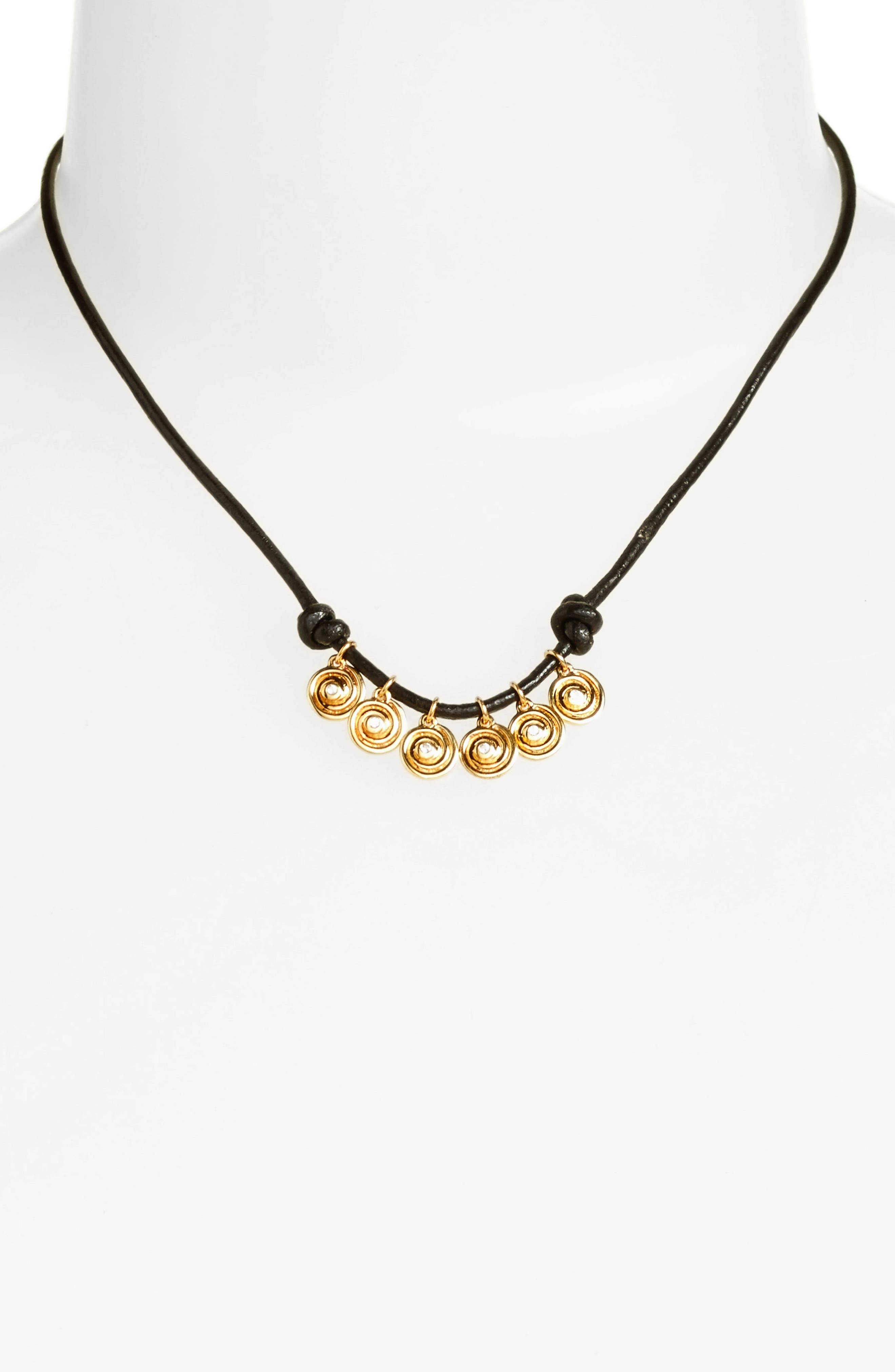 Maeve Pendant Necklace,                         Main,                         color, Yellow Gold/ Black