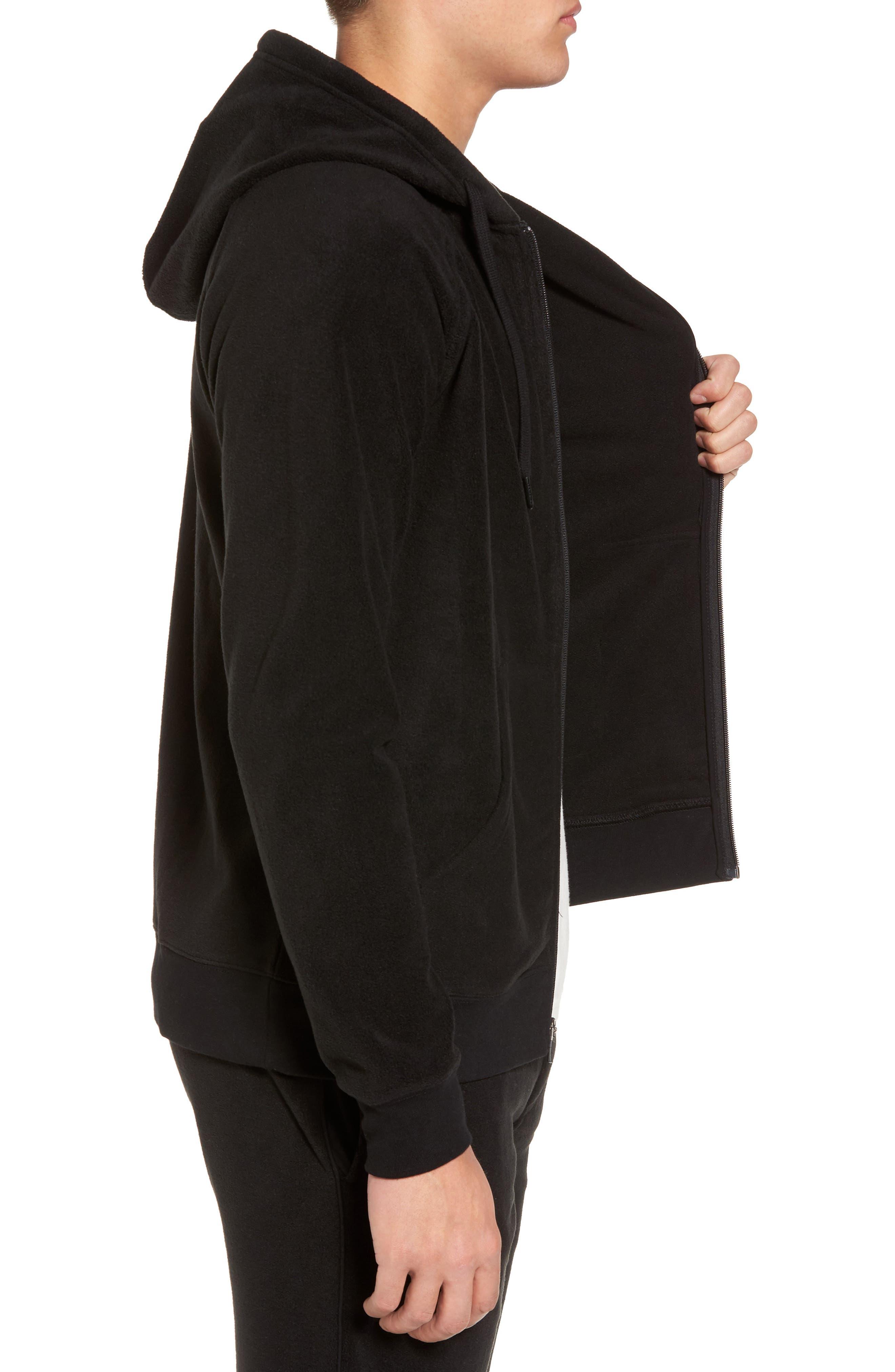 Slider Zip Through Fleece Hoodie,                             Alternate thumbnail 3, color,                             Black