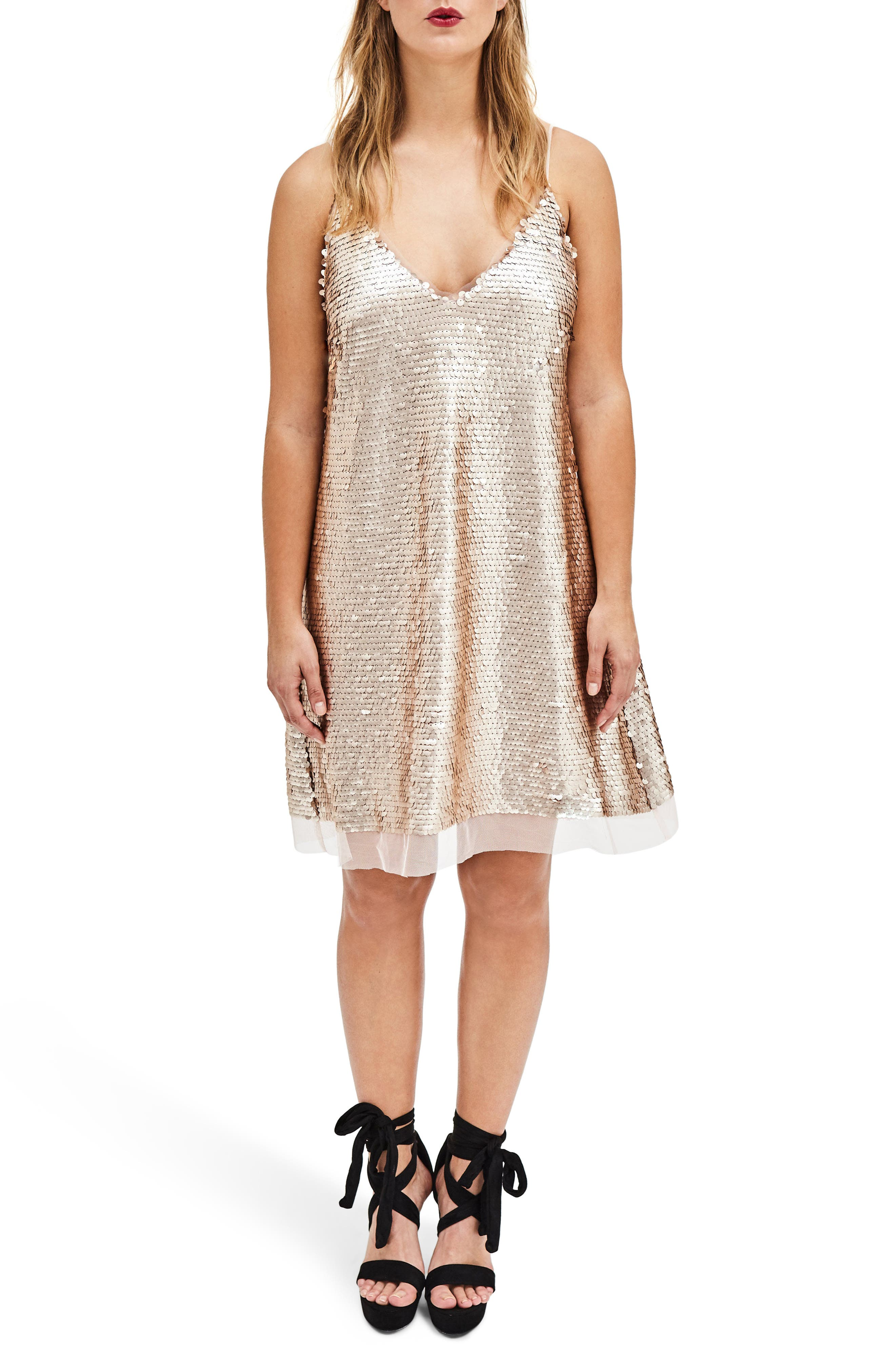 Nude Sequin Slipdress,                             Main thumbnail 1, color,                             Nude