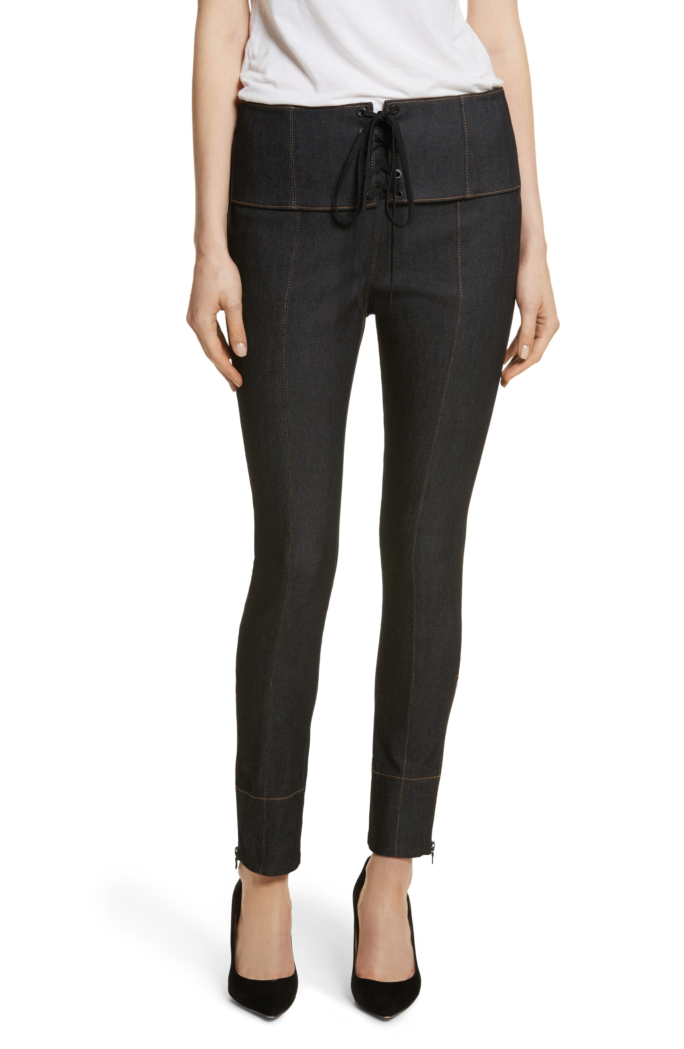 Andie Lace Front Skinny Ankle Jeans,                         Main,                         color, Black