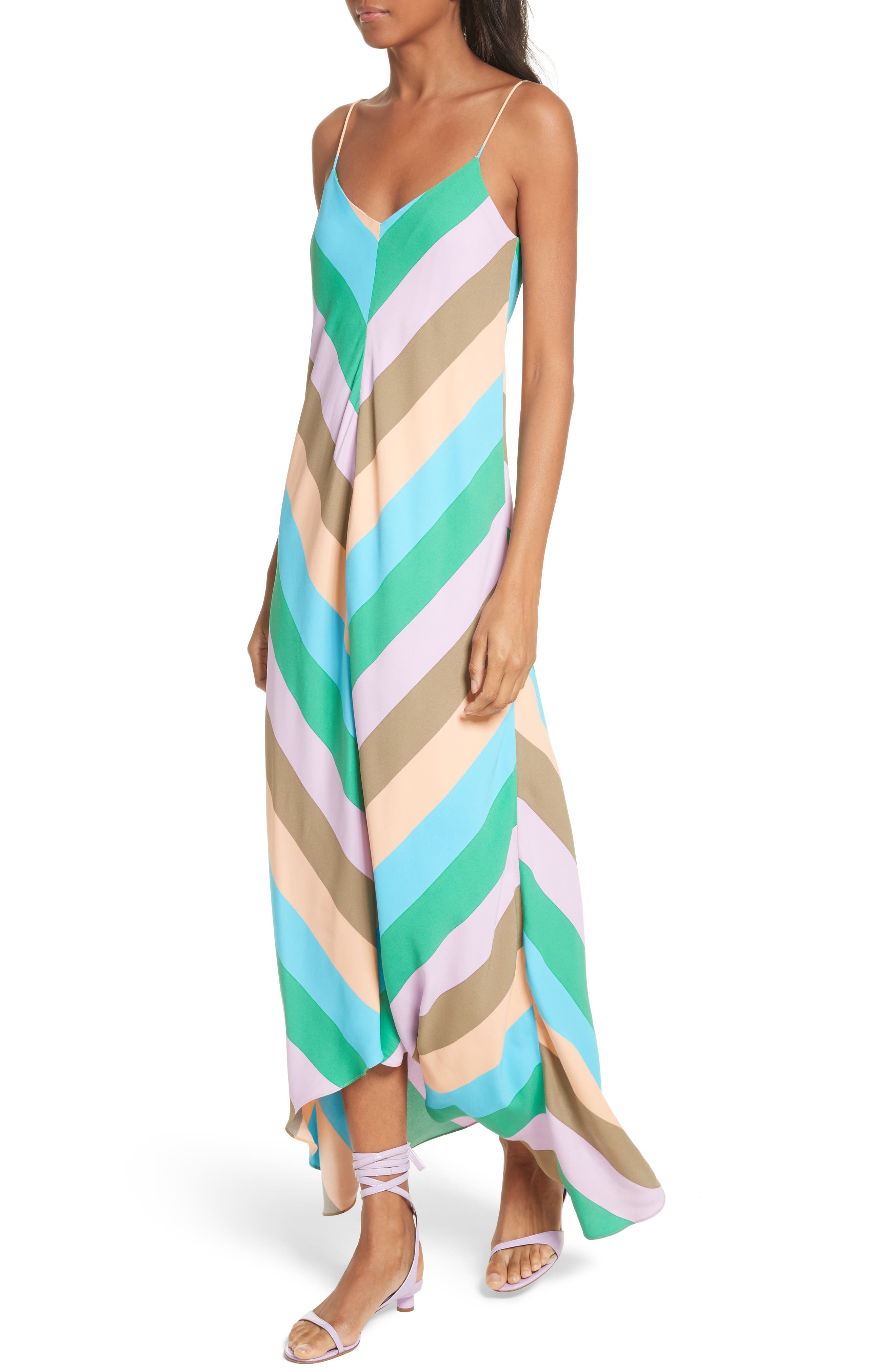 Maxi Slip Dress,                             Alternate thumbnail 4, color,                             Rugby Multi