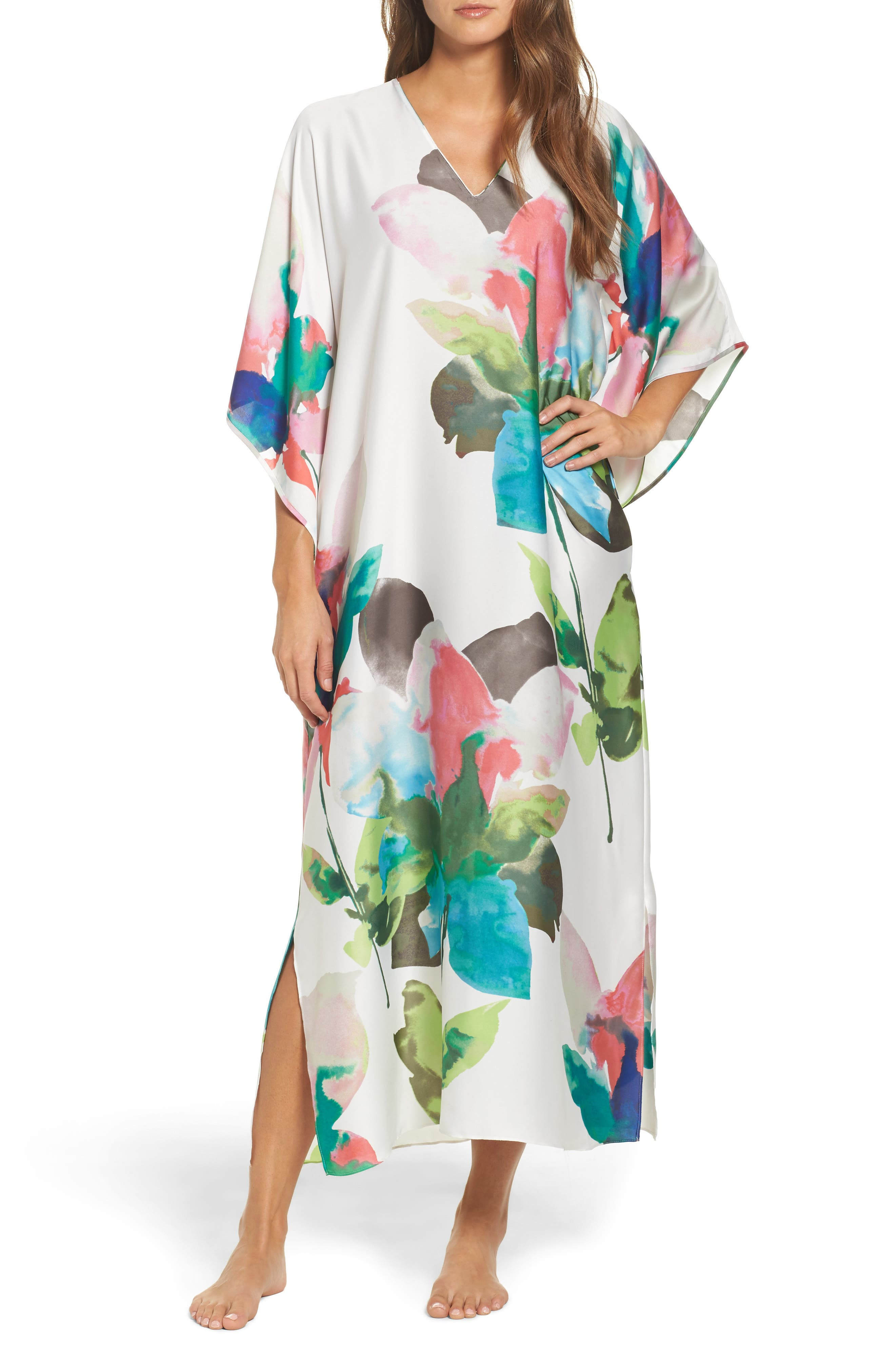 Water Lily Print Satin Caftan,                         Main,                         color, Mlt- Warm Wht Multi
