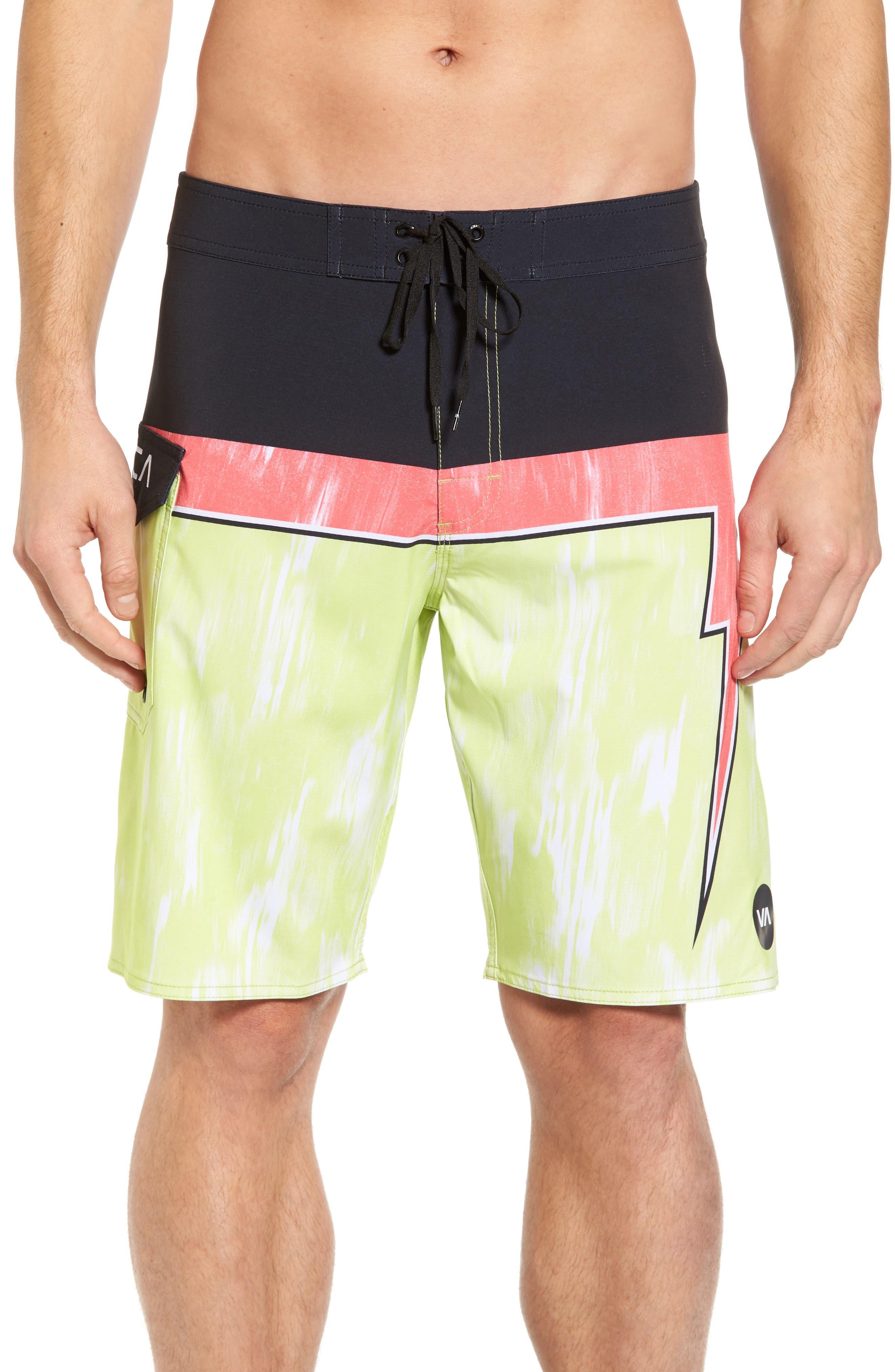 Makua Bolt Board Shorts,                         Main,                         color, Yellow Fade