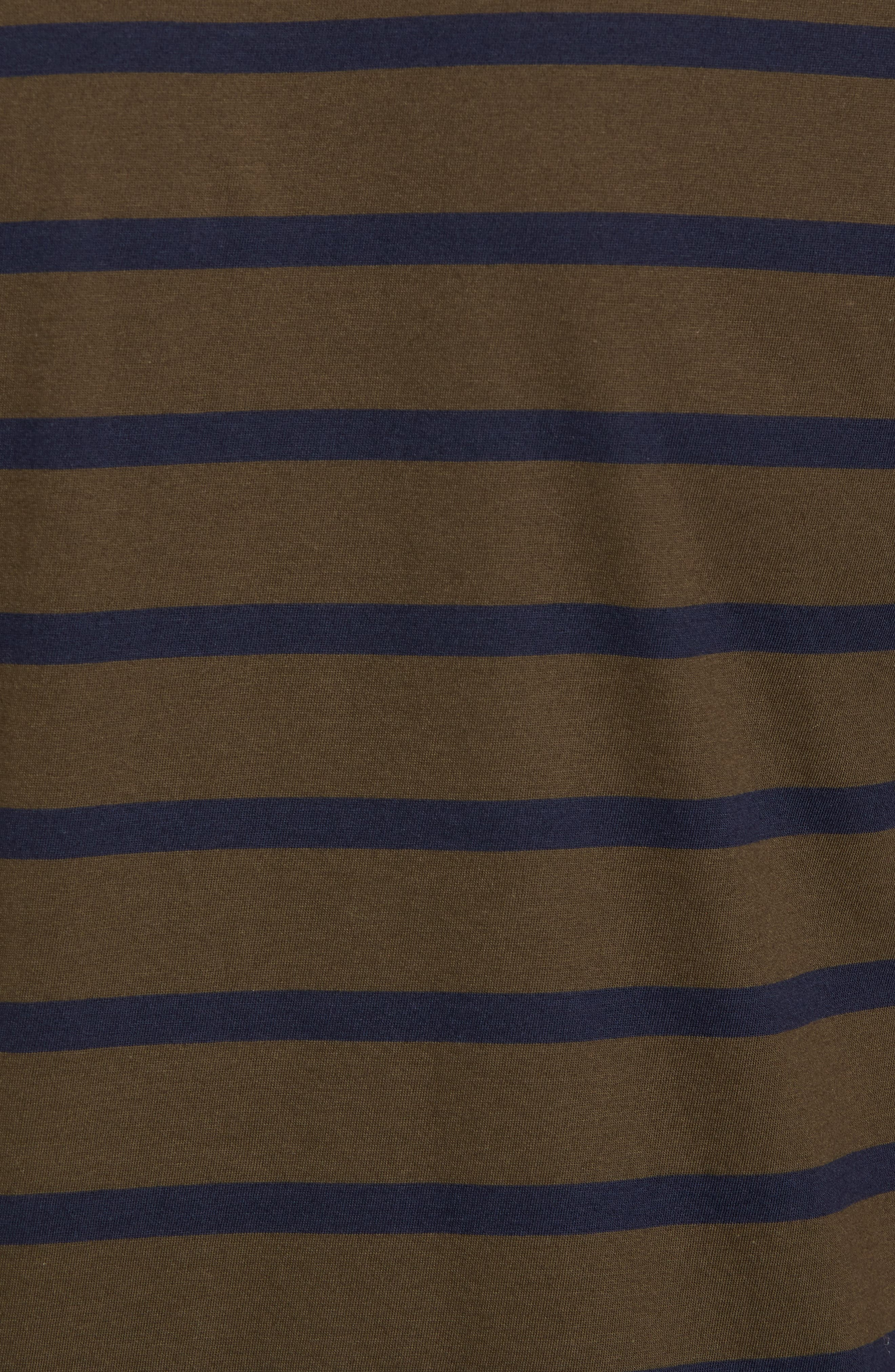 Peruvian Pima Cotton Stripe T-Shirt,                             Alternate thumbnail 5, color,                             Army/ Midnight Stripe