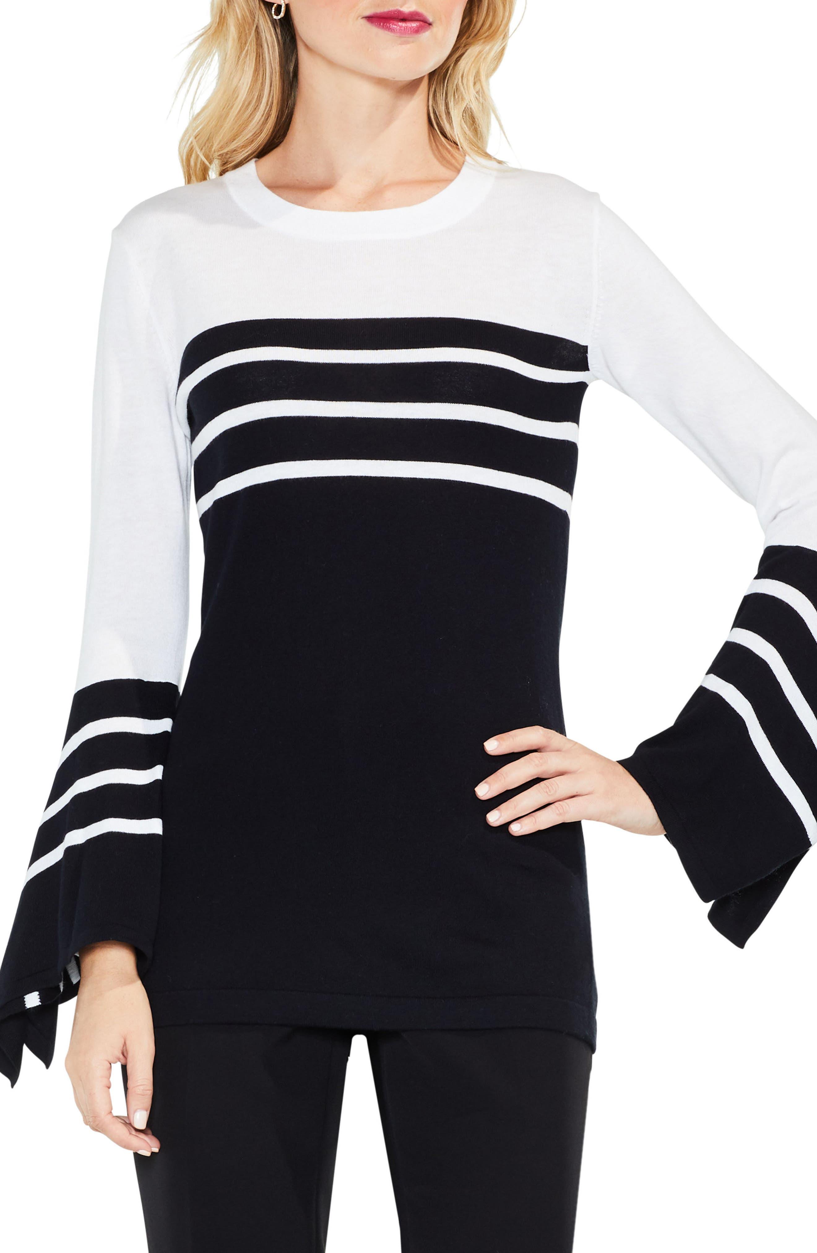 Handkerchief Sleeve Stripe Sweater,                             Main thumbnail 1, color,                             Rich Black
