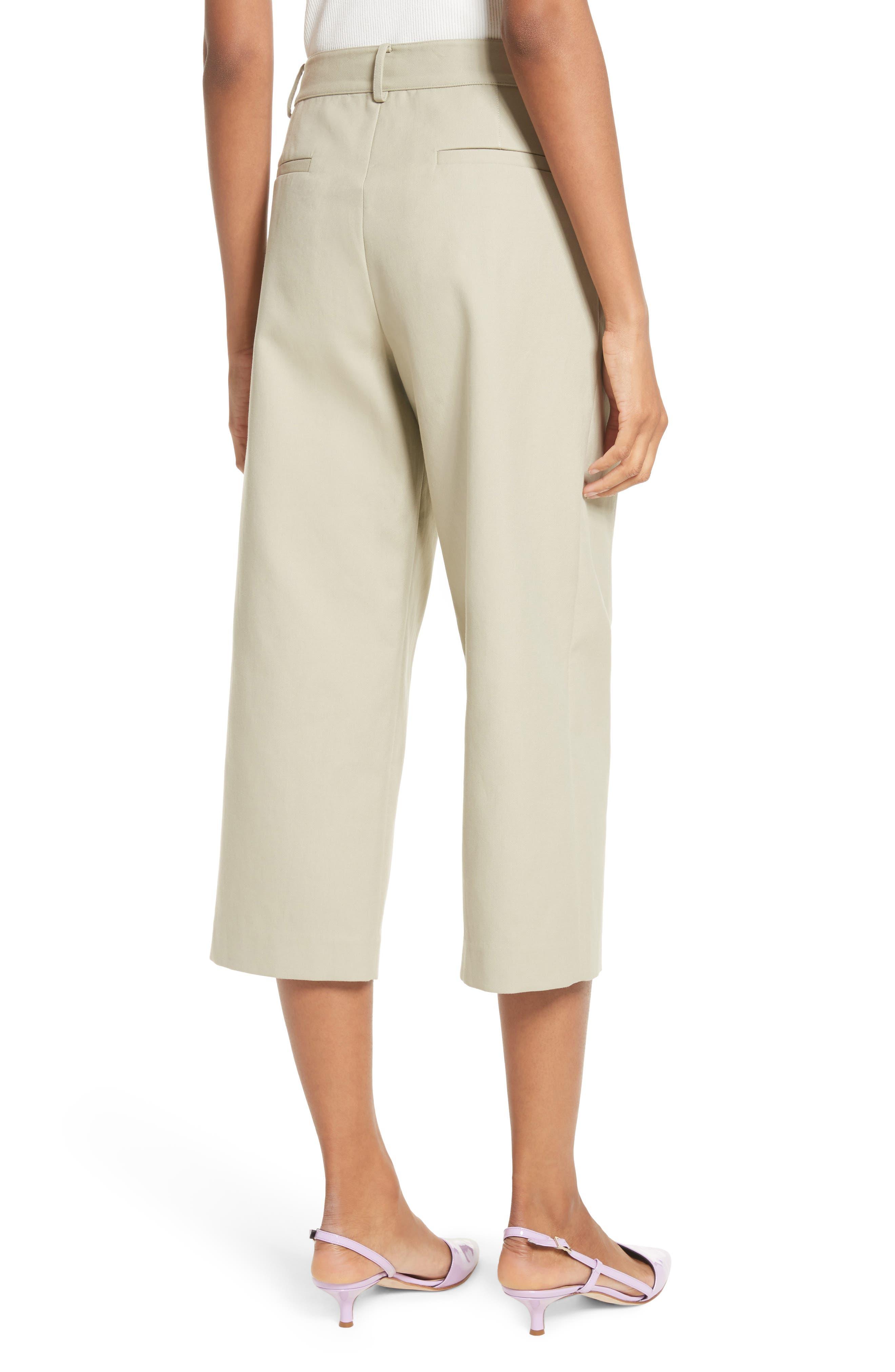 Cropped Cotton Pants,                             Alternate thumbnail 2, color,                             Moss
