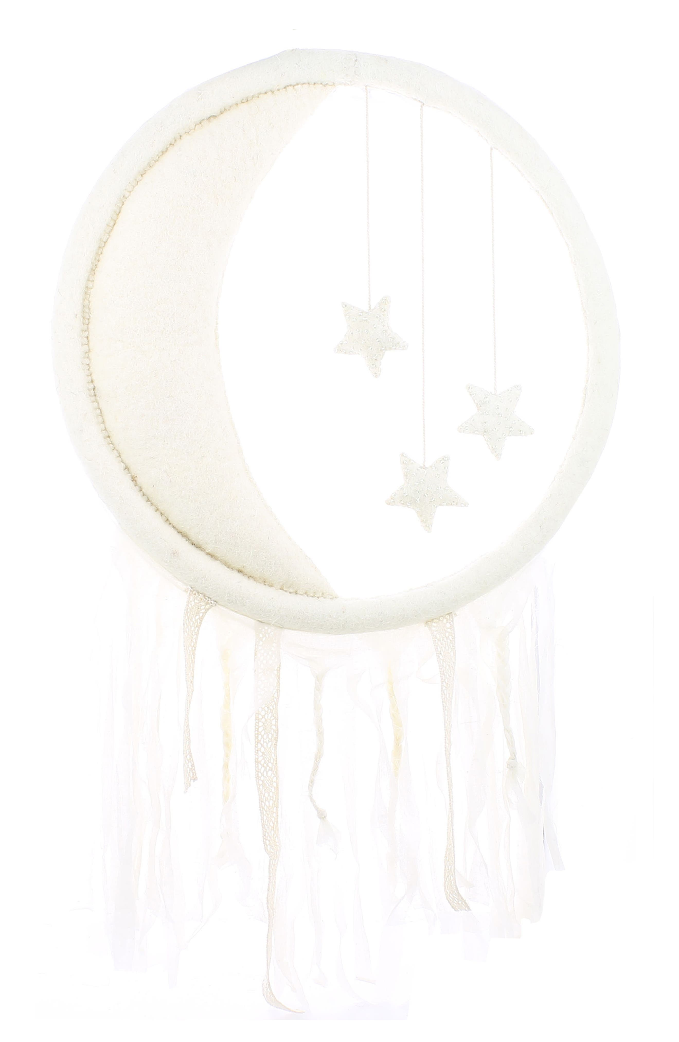 Crescent Moon & Beaded Star Wall Decoration,                         Main,                         color, Cream