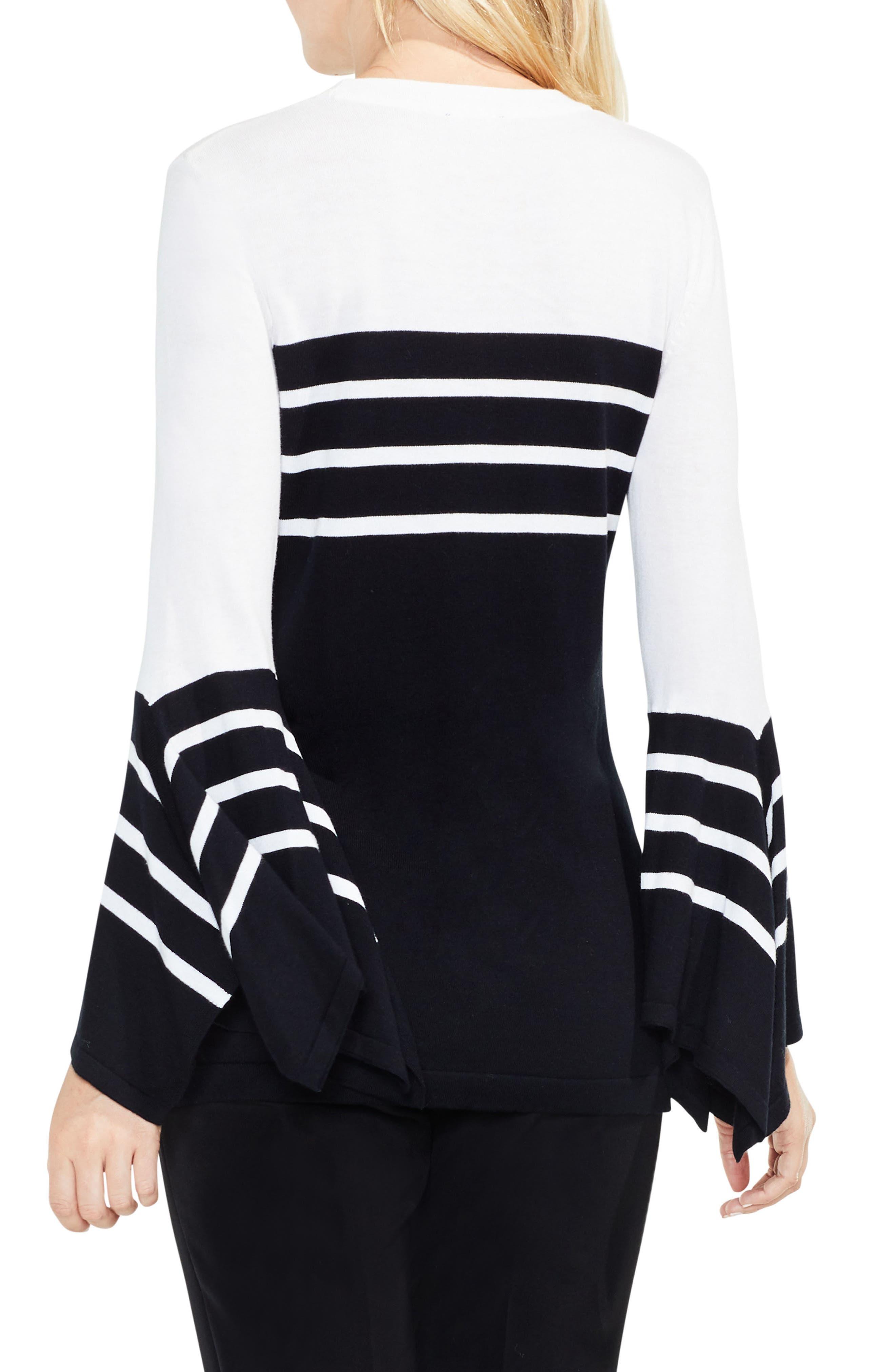 Handkerchief Sleeve Stripe Sweater,                             Alternate thumbnail 2, color,                             Rich Black
