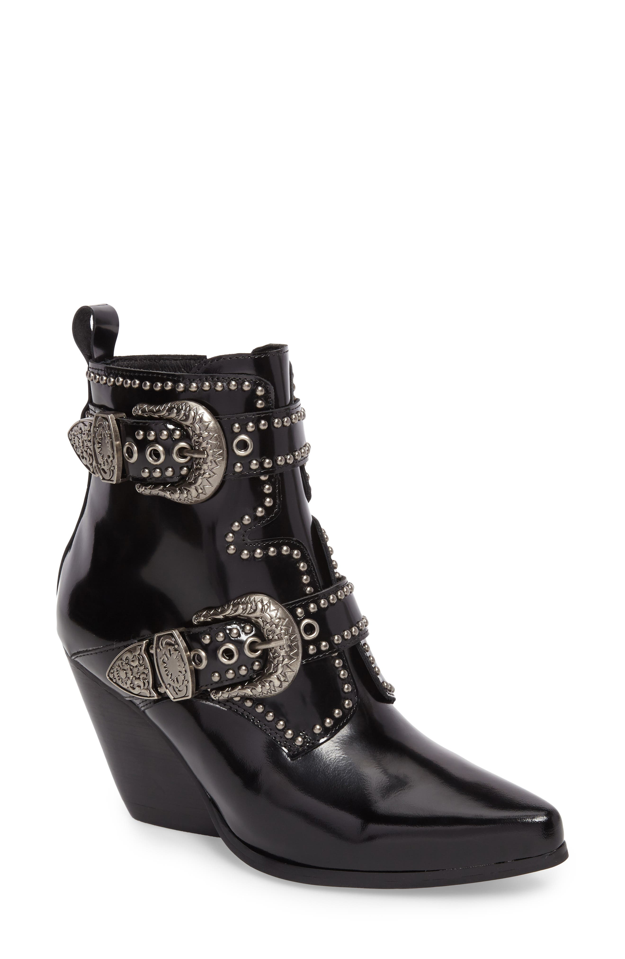 Welton Bootie,                             Main thumbnail 1, color,                             Black/ Silver Leather
