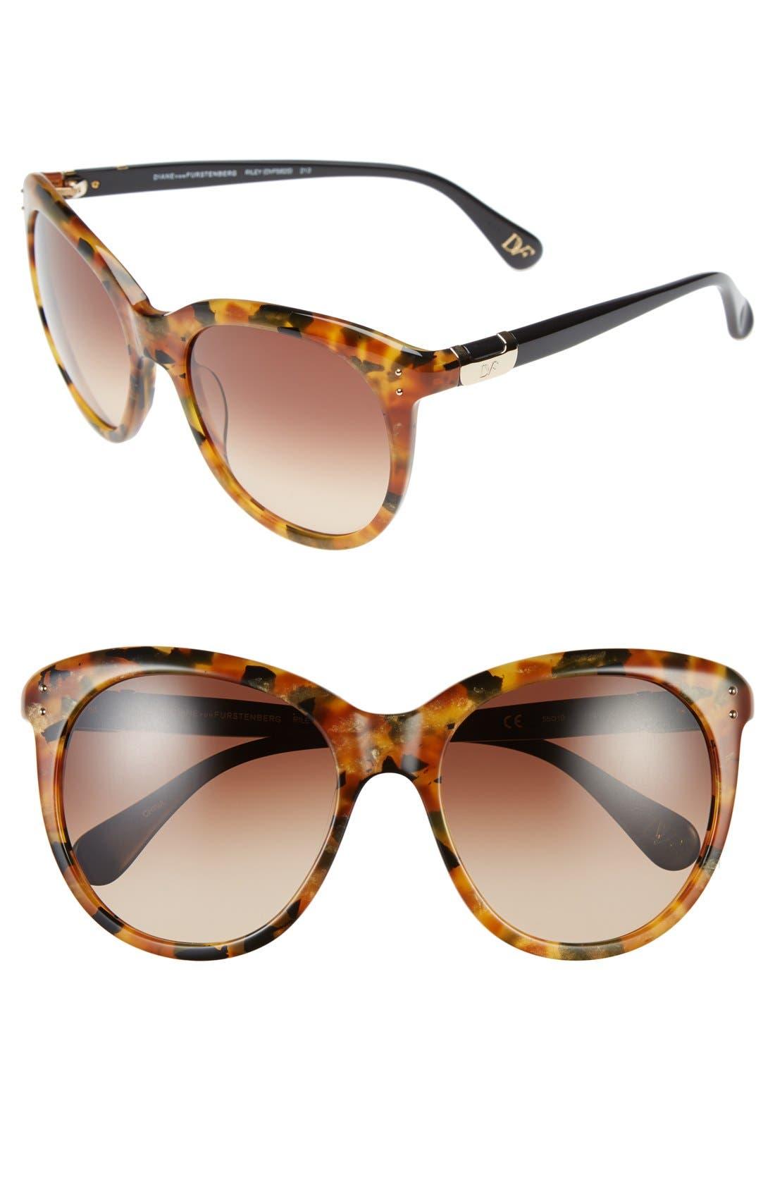 Alternate Image 1 Selected - Diane von Furstenberg 'Riley' 55mm Retro Sunglasses