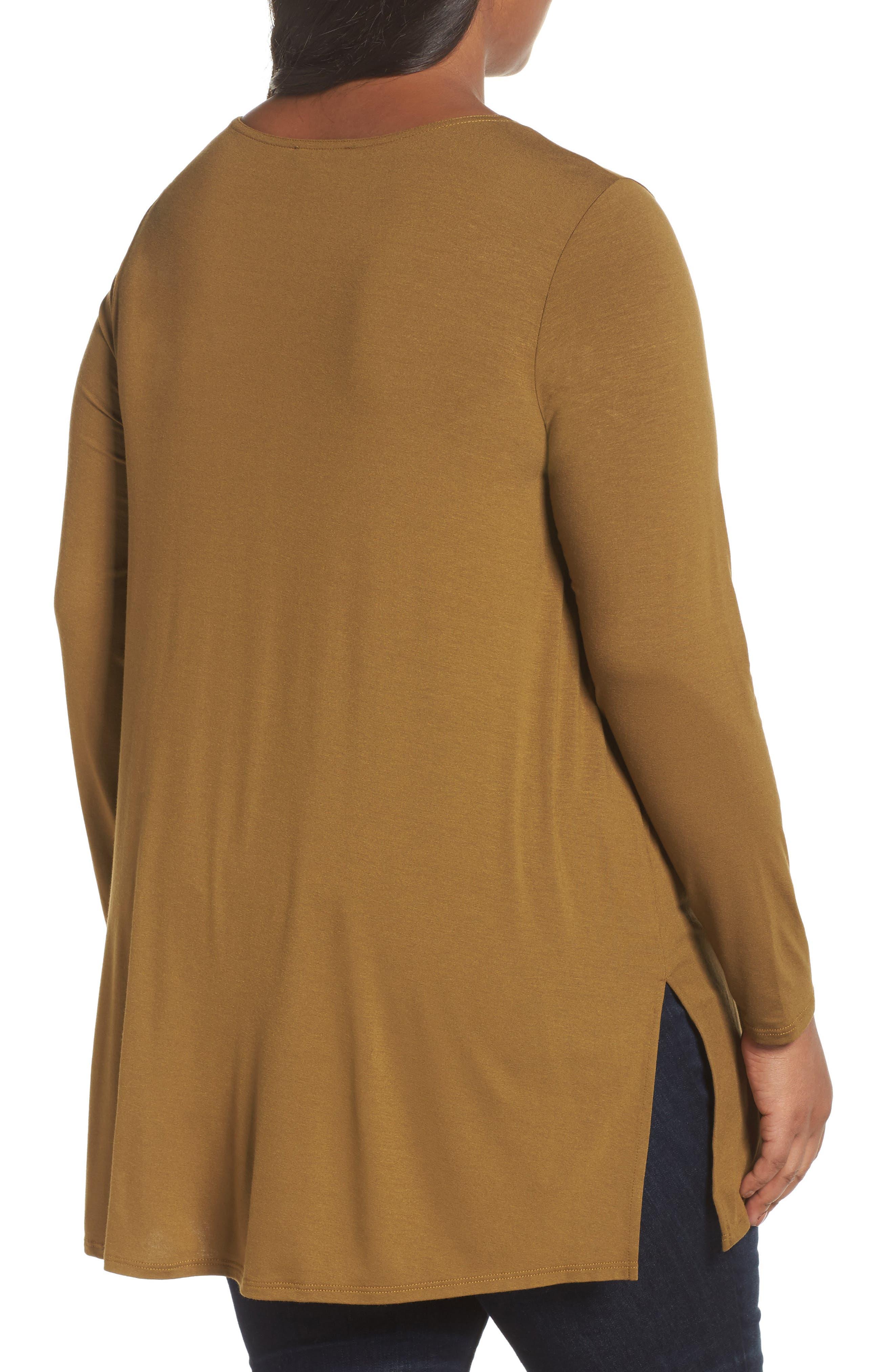Alternate Image 2  - Eileen Fisher Round Neck Jersey Tunic (Plus Size)