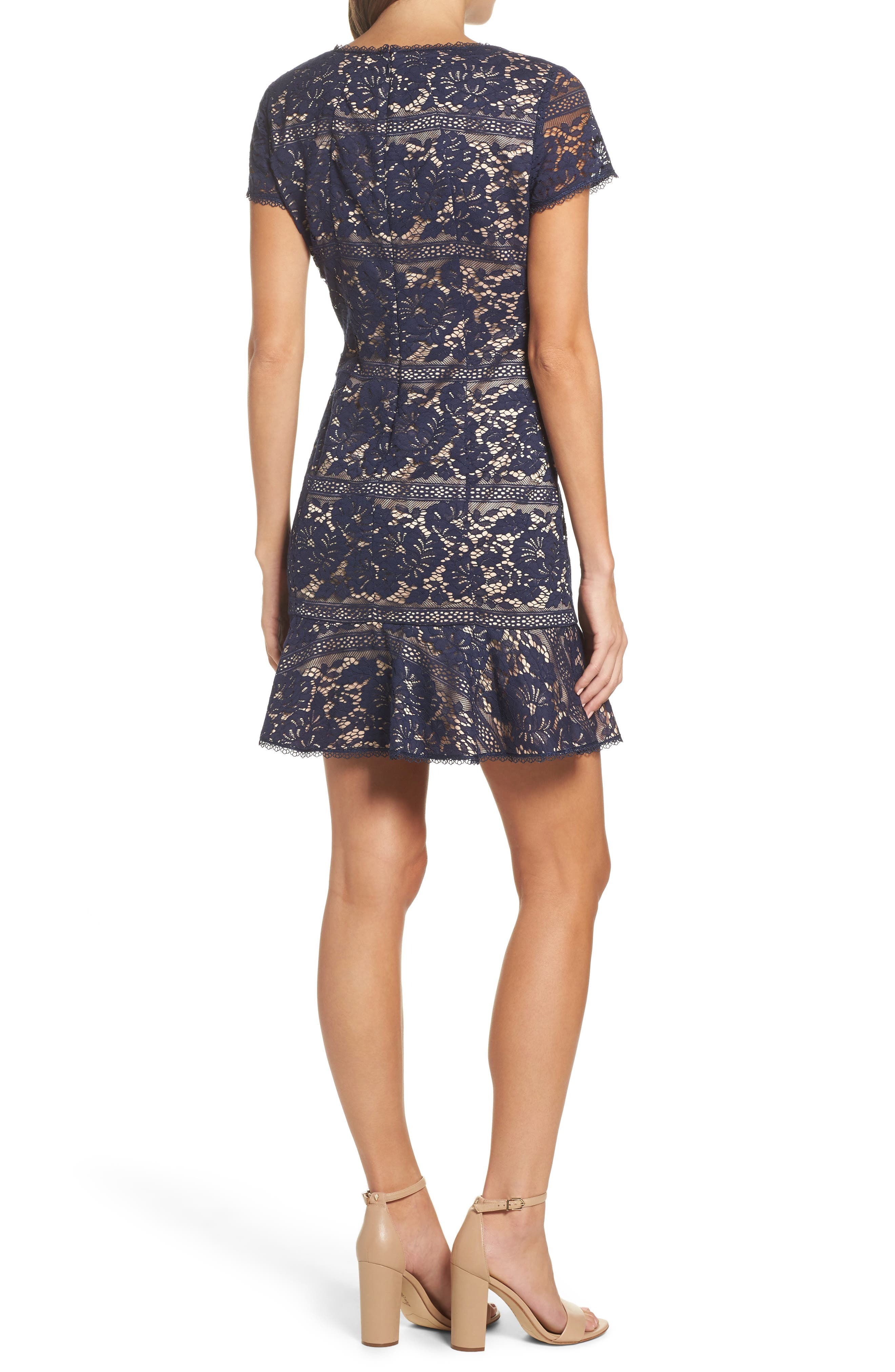 Lace Ruffle Hem Sheath Dress,                             Alternate thumbnail 2, color,                             Navy
