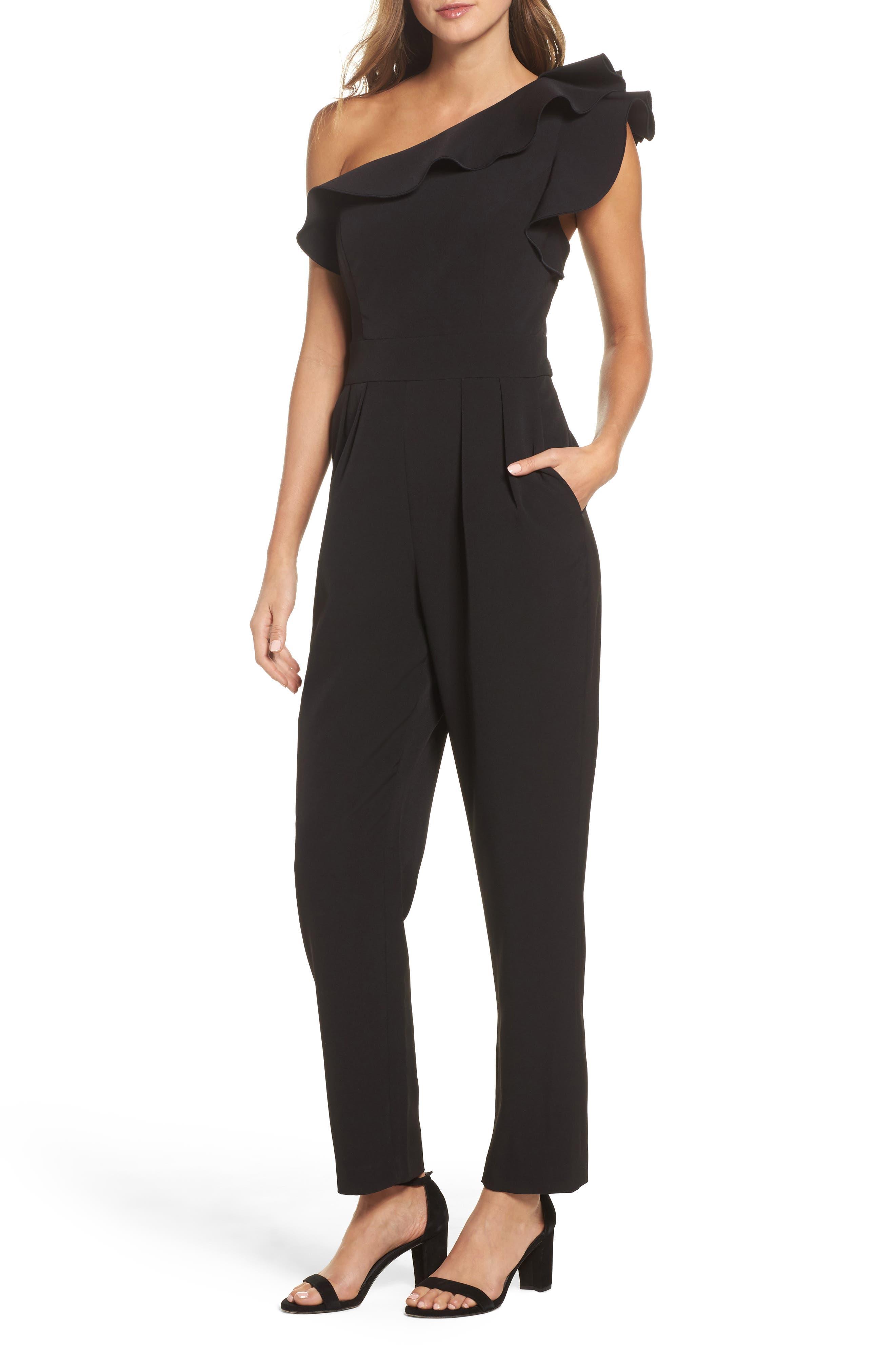 One-Shoulder Ruffle Jumpsuit,                             Main thumbnail 1, color,                             Black