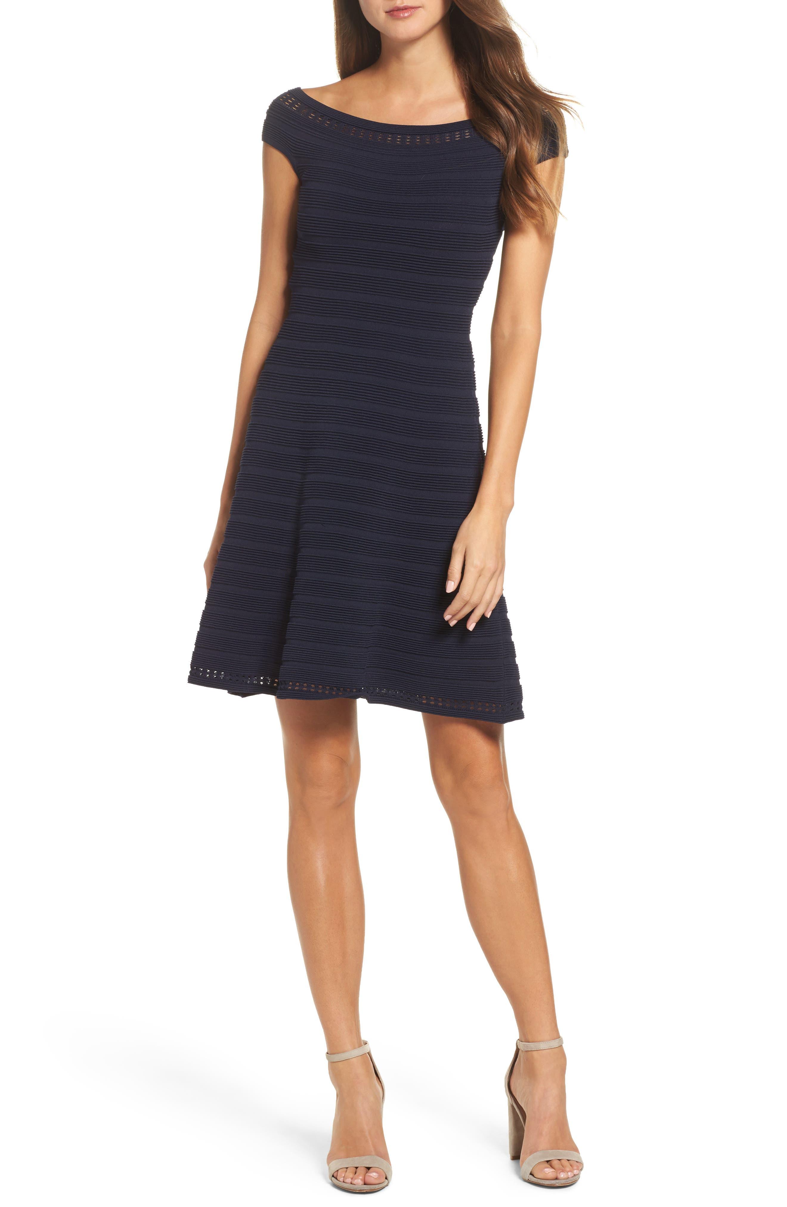 Main Image - Eliza J Off the Shoulder Fit & Flare Dress