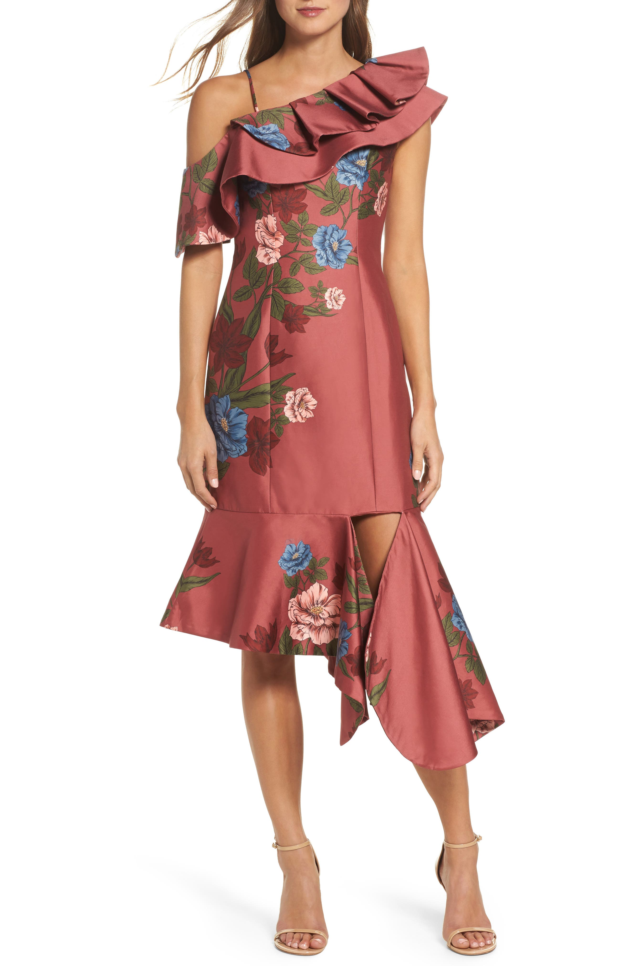 Night Lights Floral Asymmetrical Dress,                         Main,                         color, Spice Floral