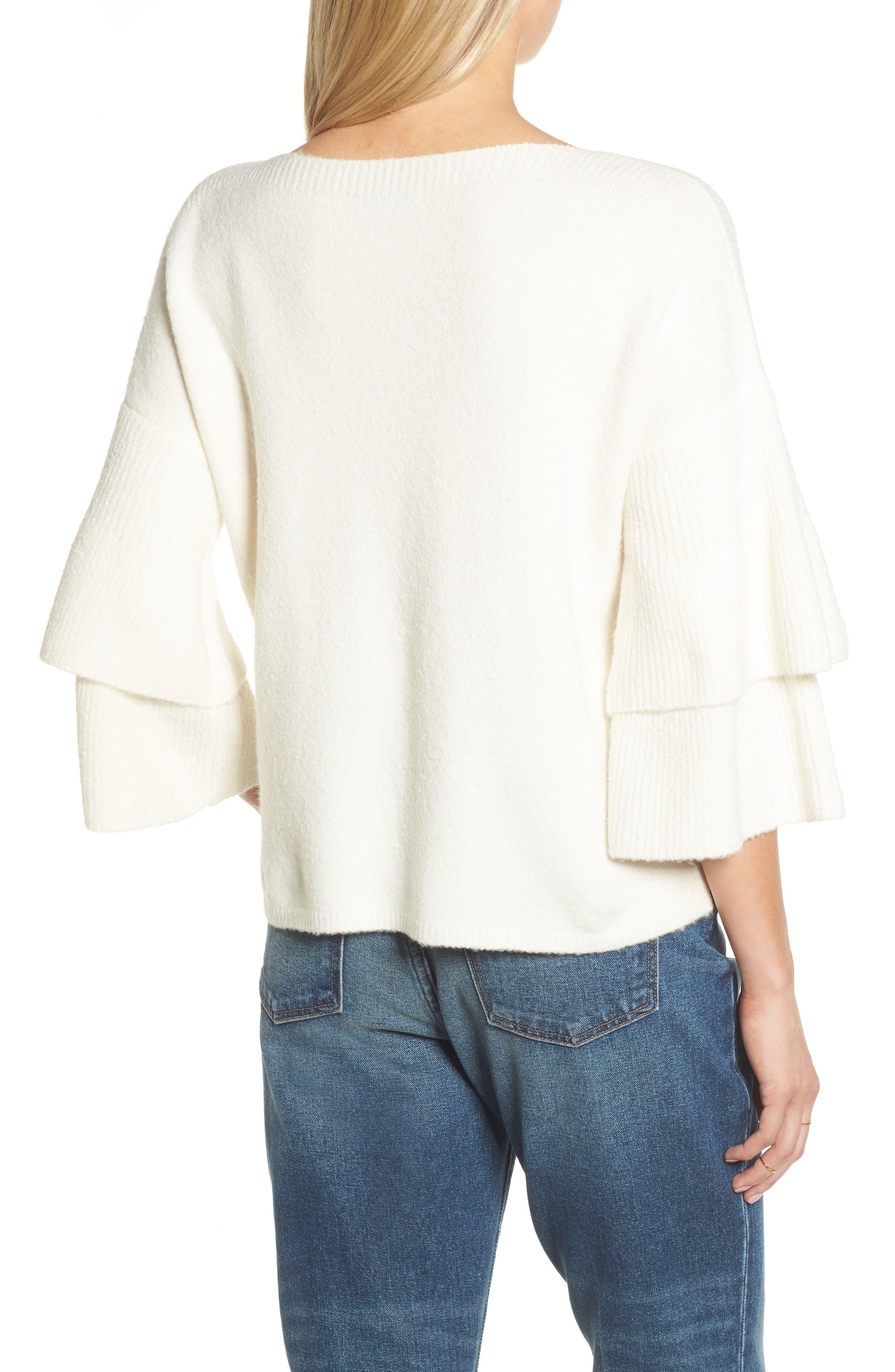 Tier Sleeve Sweater,                             Alternate thumbnail 2, color,                             Antique Cream