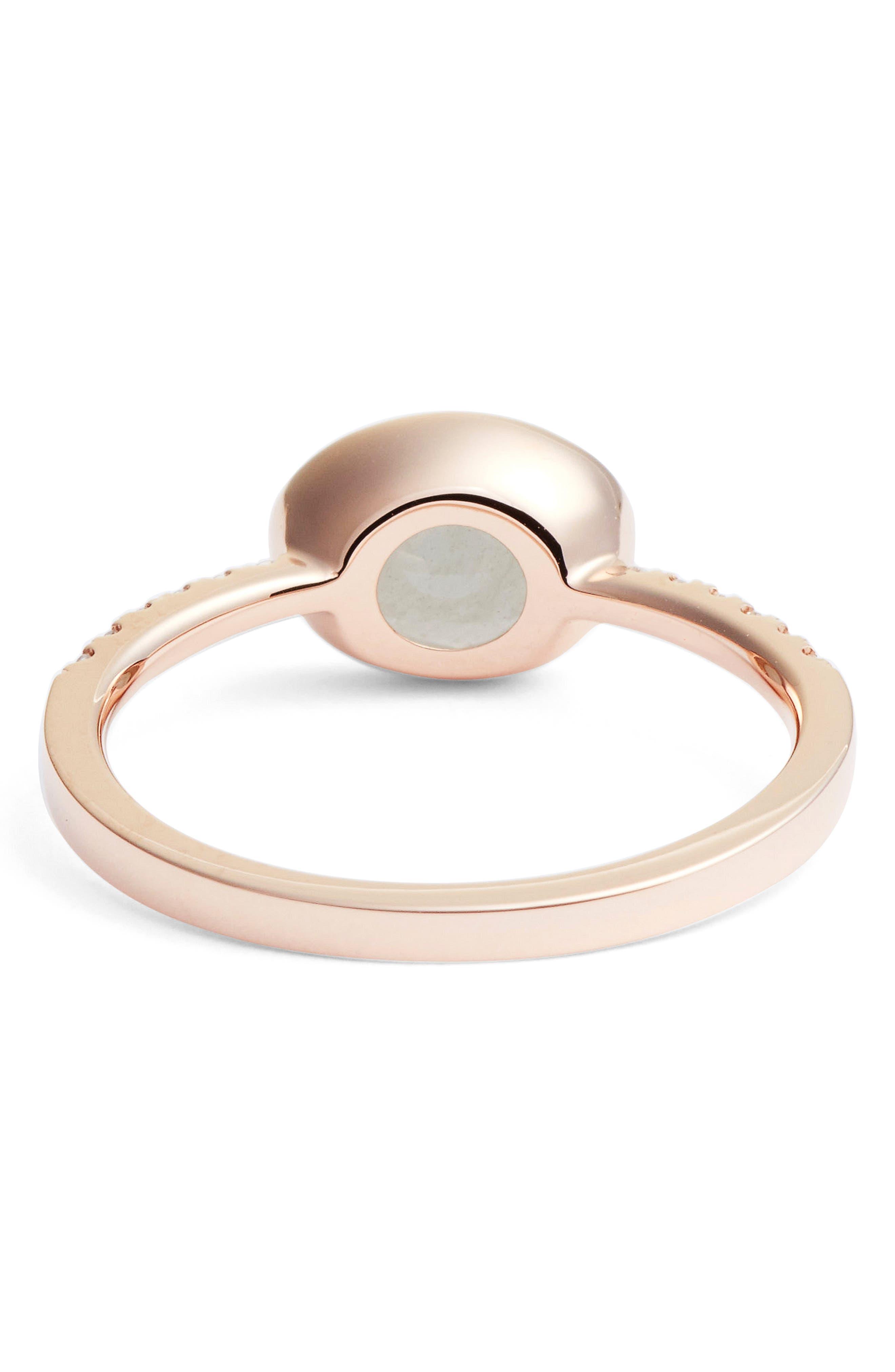 Iris Semiprecious Stone & Diamond Ring,                             Alternate thumbnail 3, color,                             Rose Gold/ Milky Aqua
