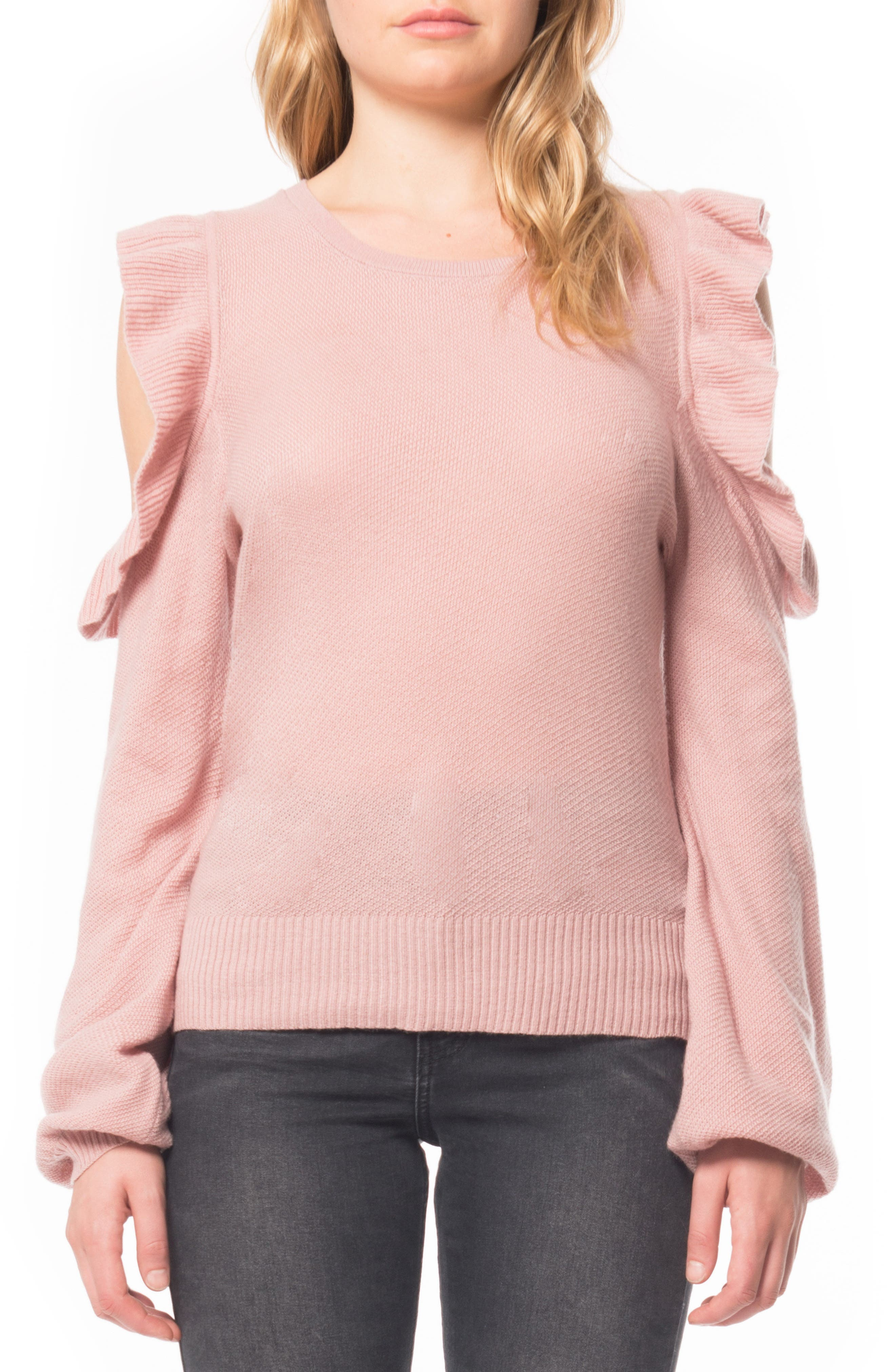 Alternate Image 1 Selected - Willow & Clay Cold Shoulder Ruffle Sweater