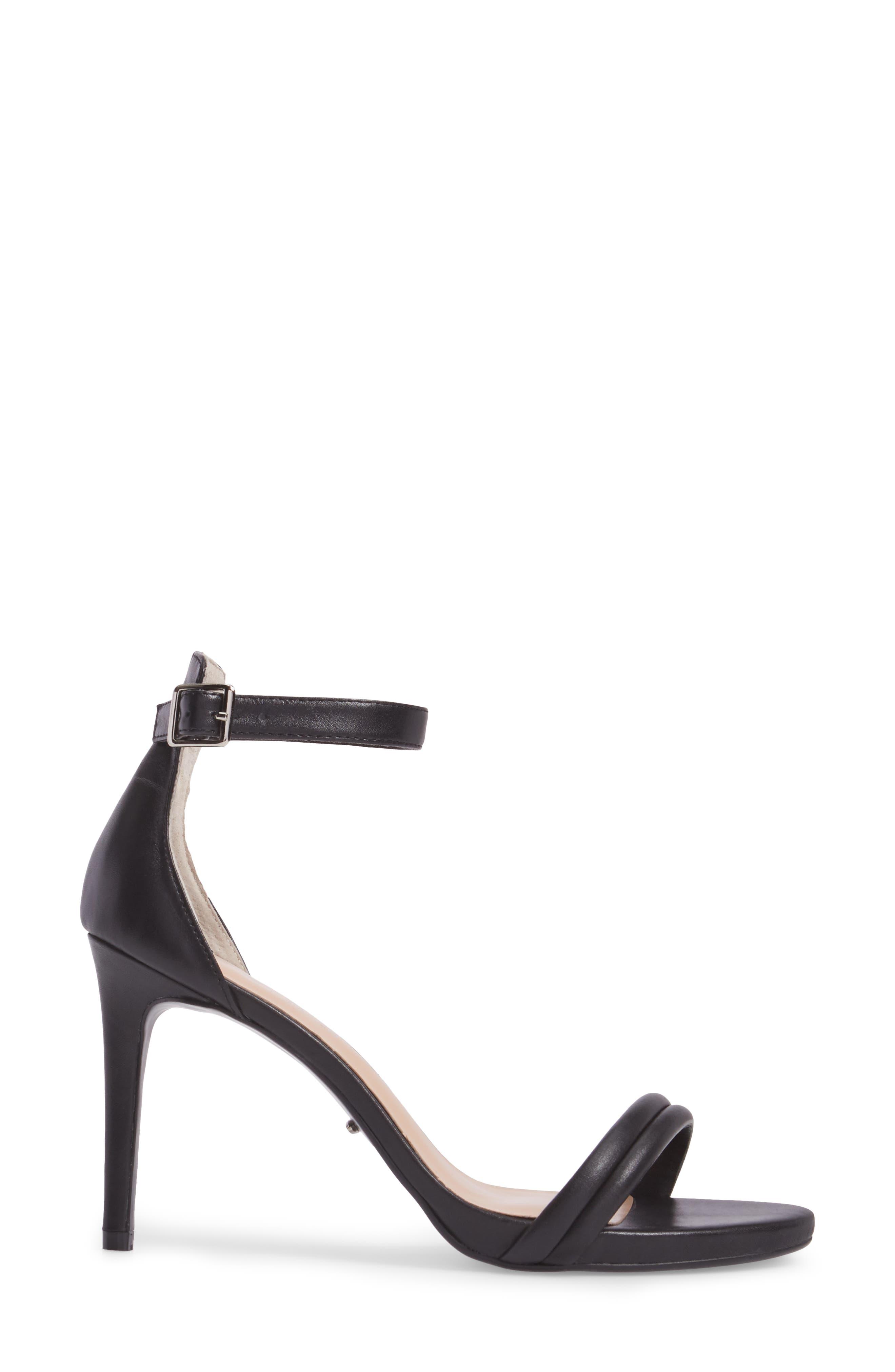Camila Strappy Sandal,                             Alternate thumbnail 3, color,                             Black Capretto Leather