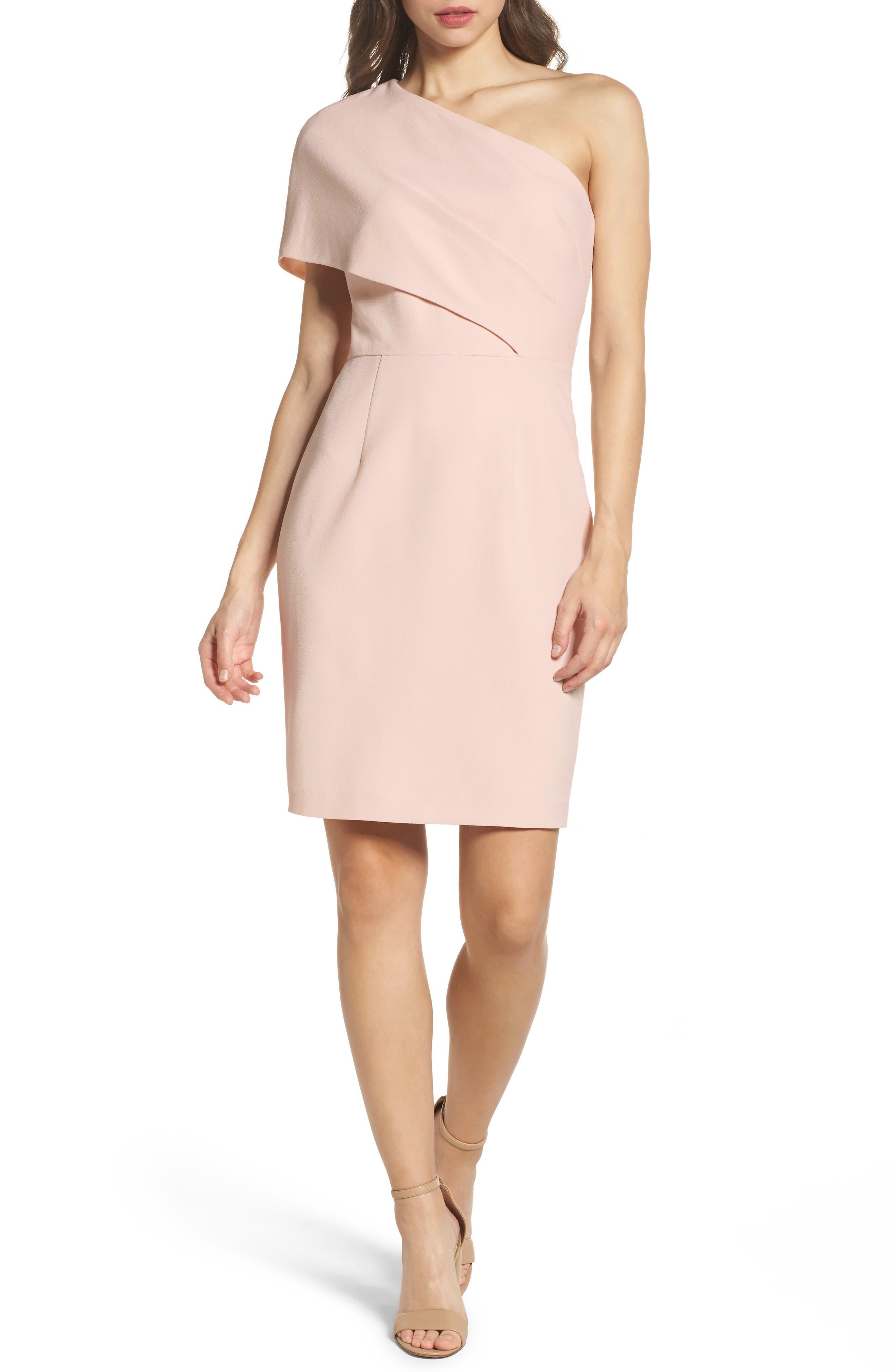 One-Shoulder Body-Con Dress,                         Main,                         color, Blush