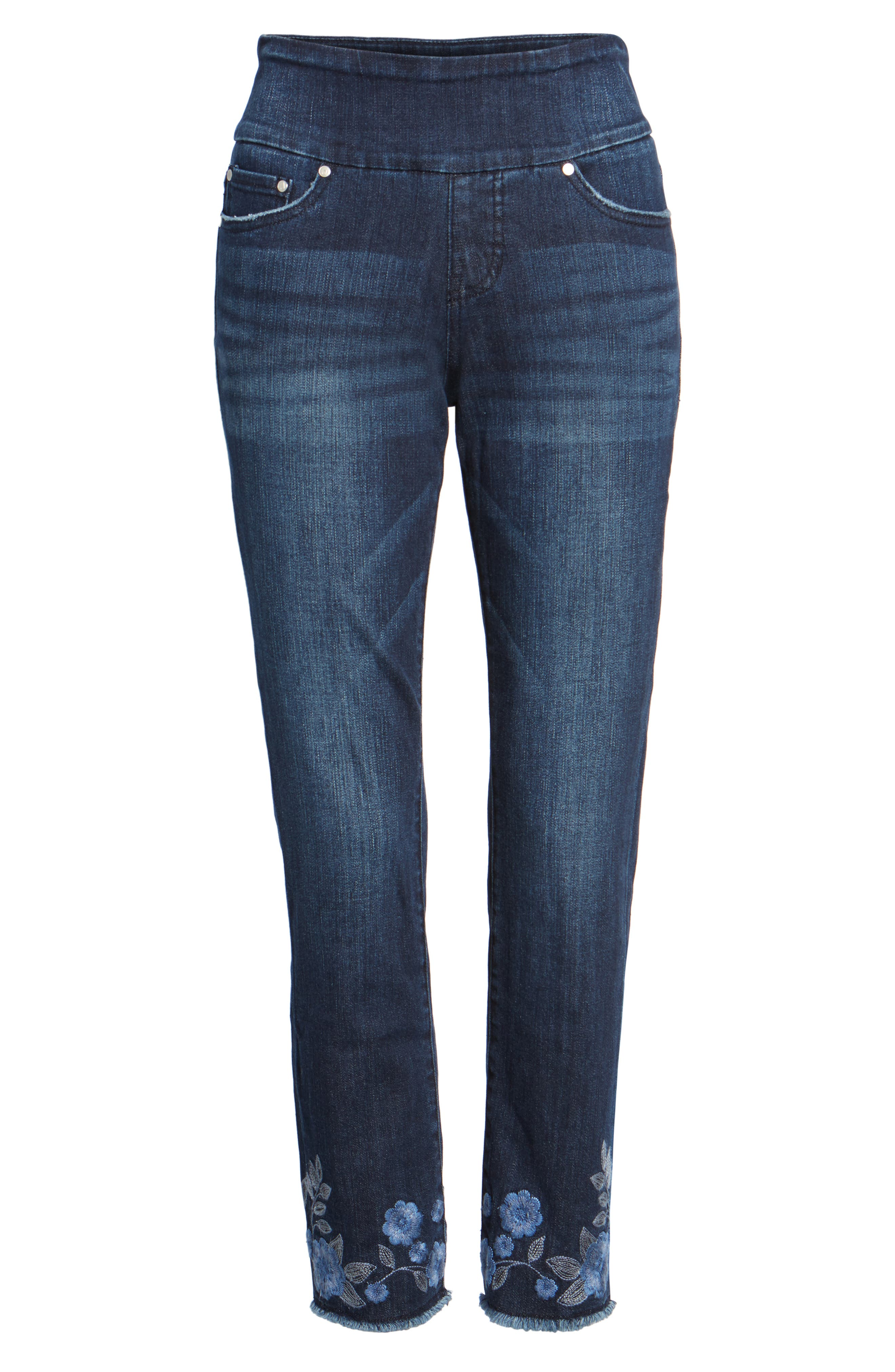 Amelia Embroidered Slim Ankle Jeans,                             Alternate thumbnail 6, color,                             Meteor Wash