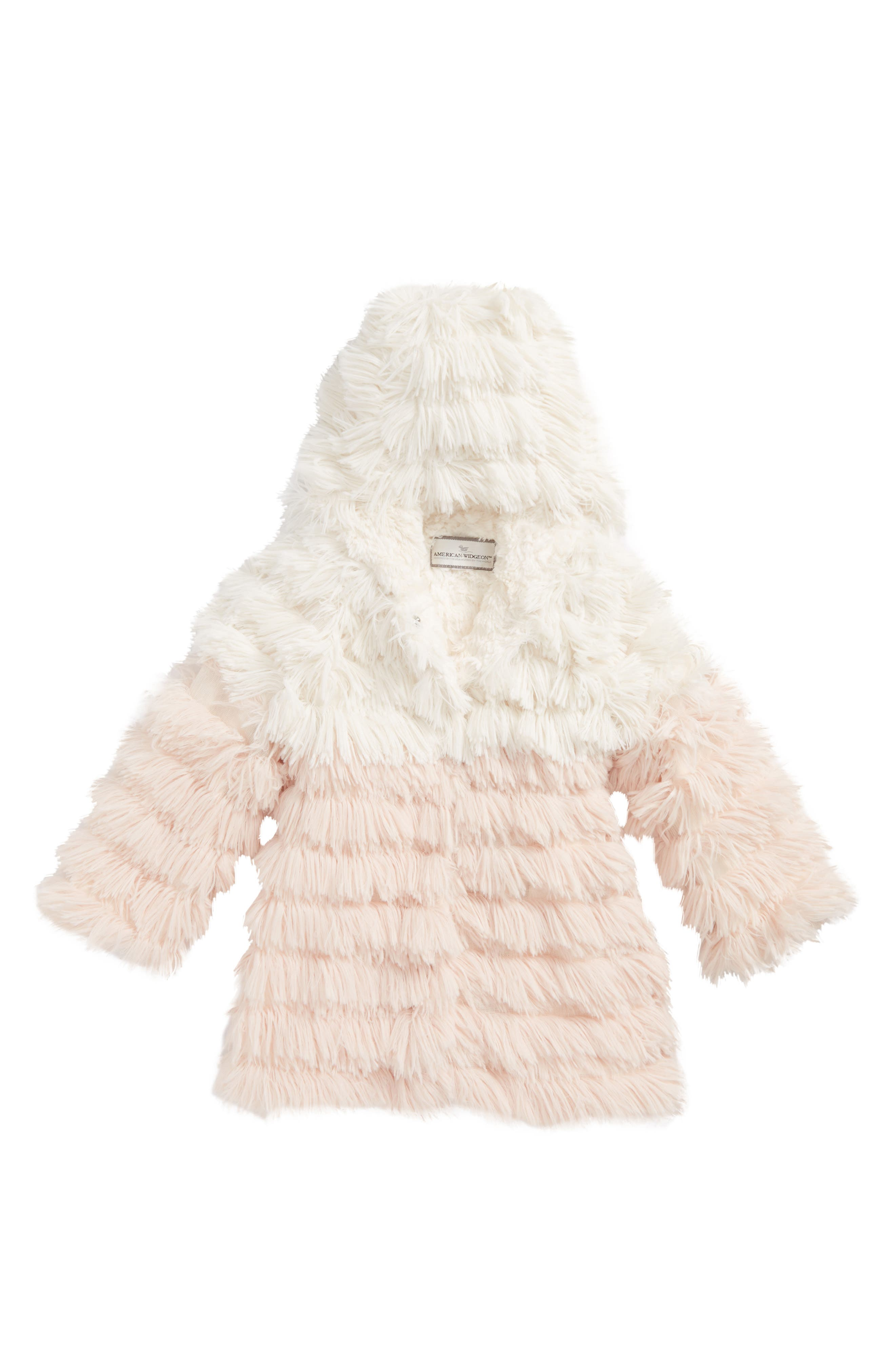 Widgeon Shaggy Colorblock Faux Fur Hooded Coat (Toddler Girls & Little Girls)