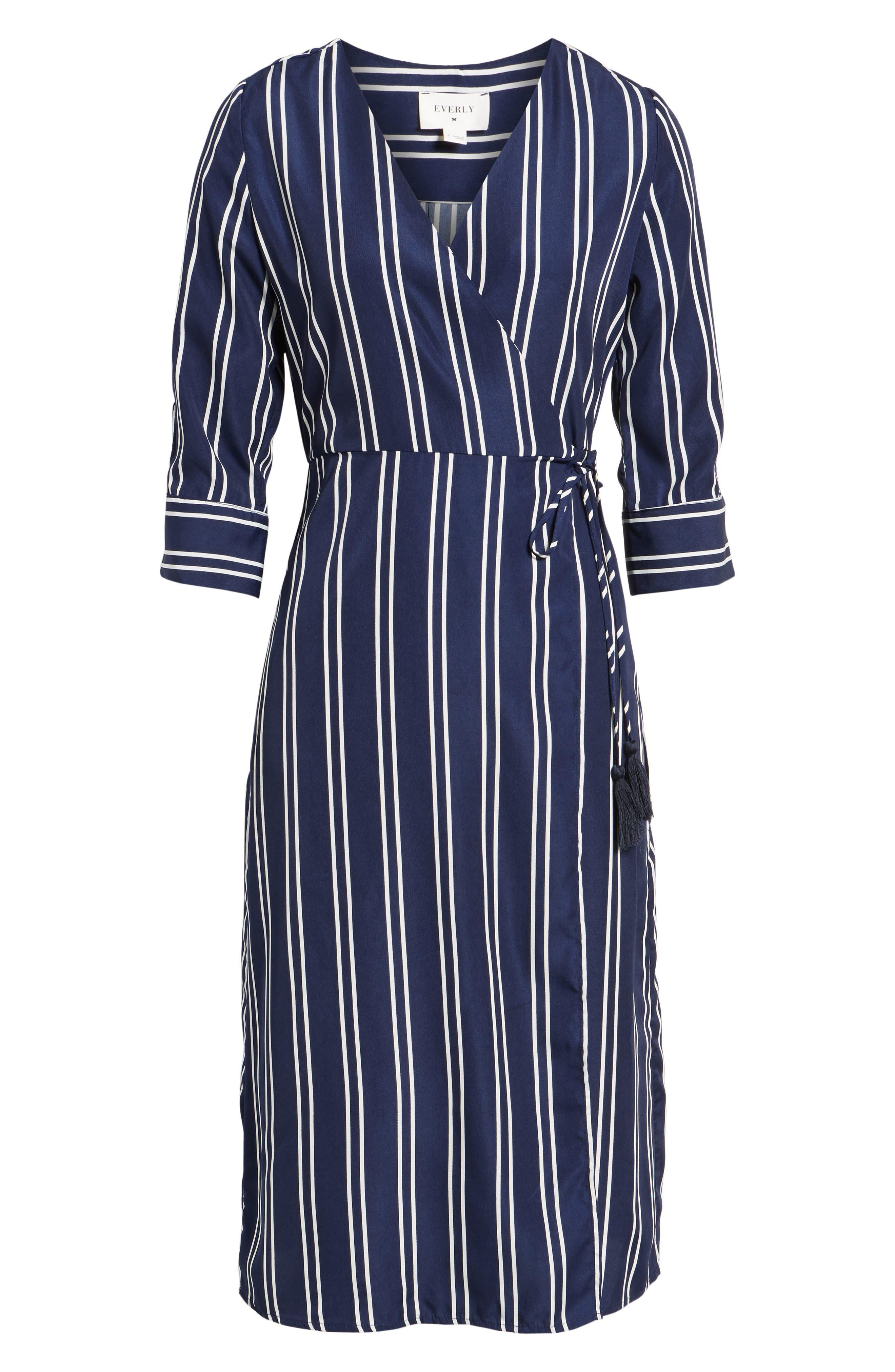 Stripe Wrap Midi Dress,                             Alternate thumbnail 6, color,                             Navy