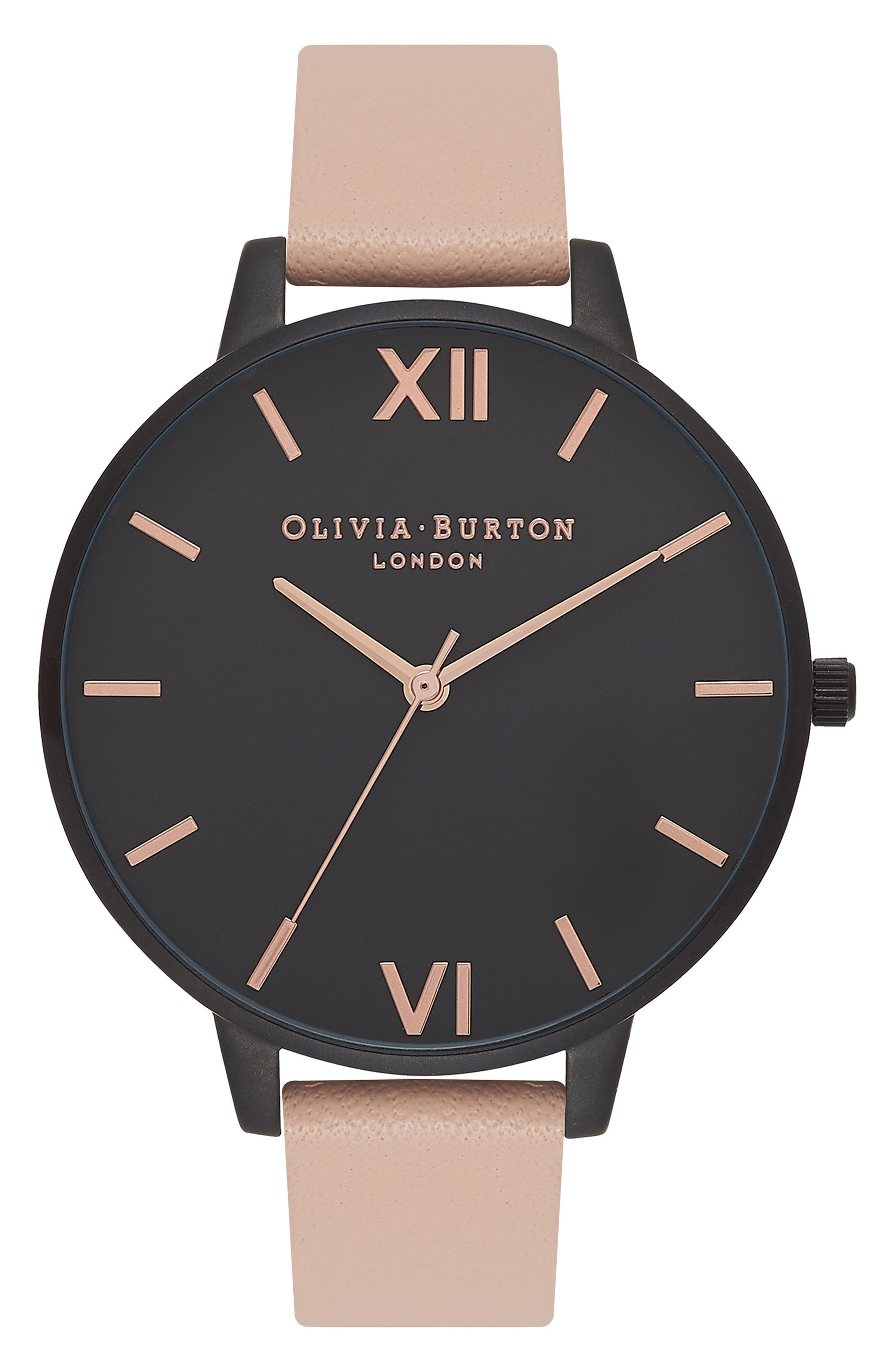 After Dark Leather Strap Watch, 38mm,                             Main thumbnail 1, color,                             Pink/ Black