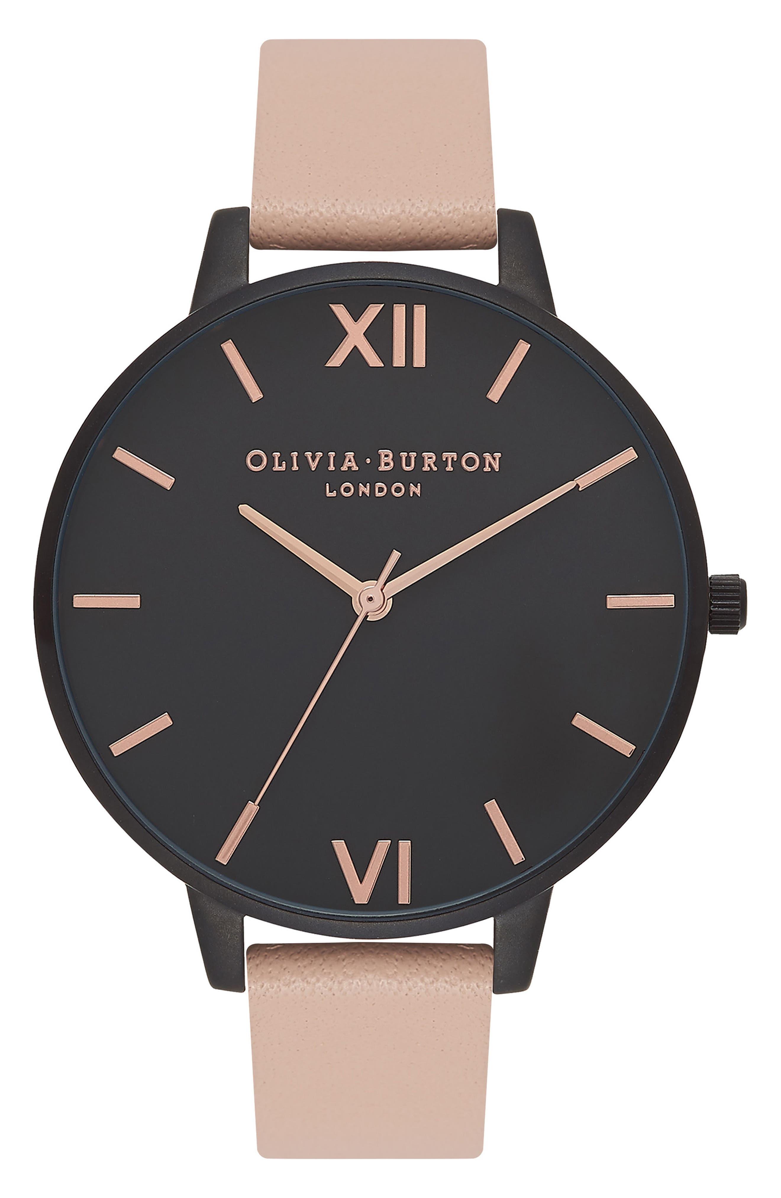 Alternate Image 1 Selected - Olivia Burton After Dark Leather Strap Watch, 38mm