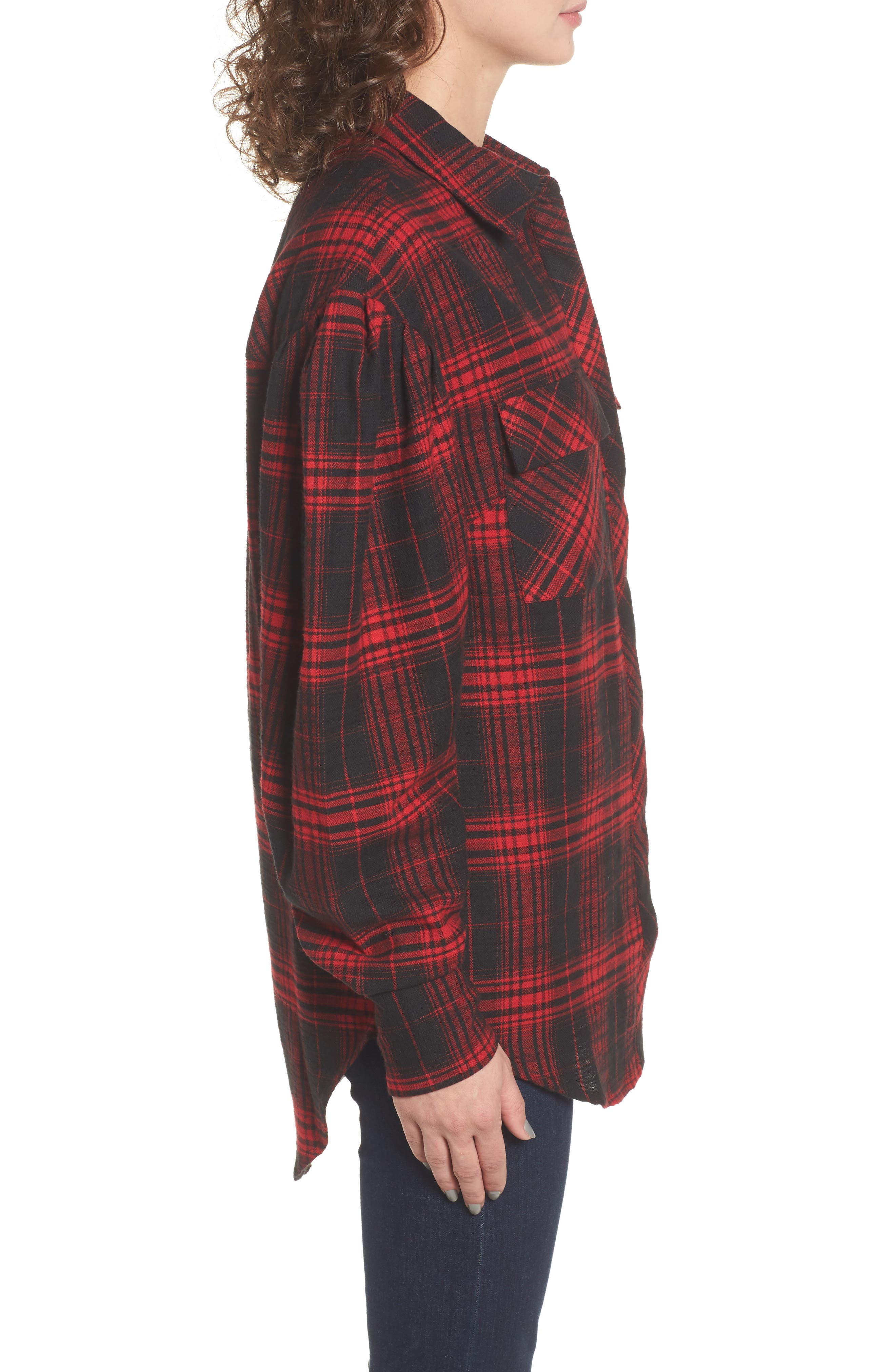 Victoria Oversize Flannel Shirt,                             Alternate thumbnail 3, color,                             Red Flannel