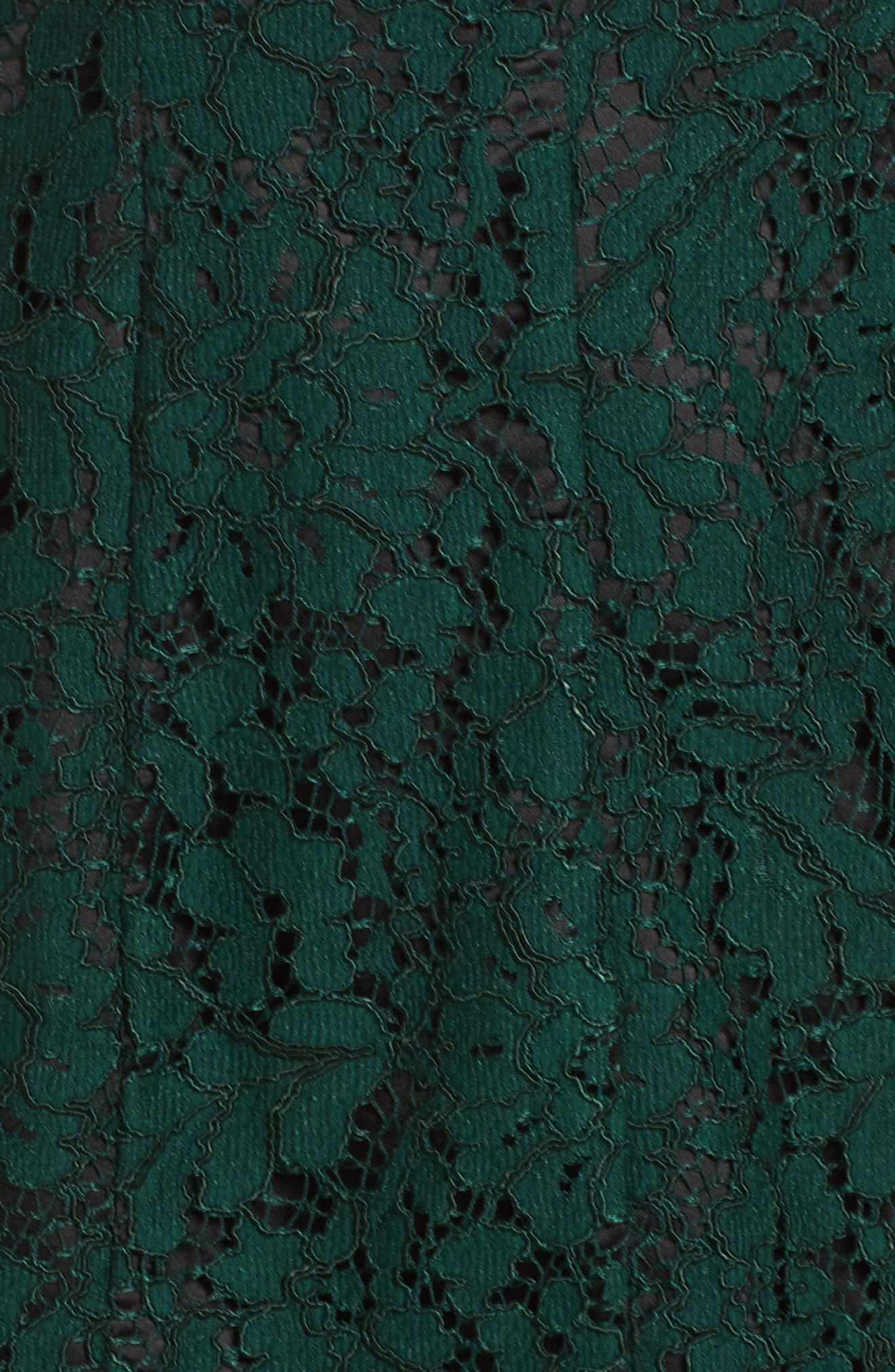 Bell Sleeve Lace Dress,                             Alternate thumbnail 5, color,                             Green/ Black
