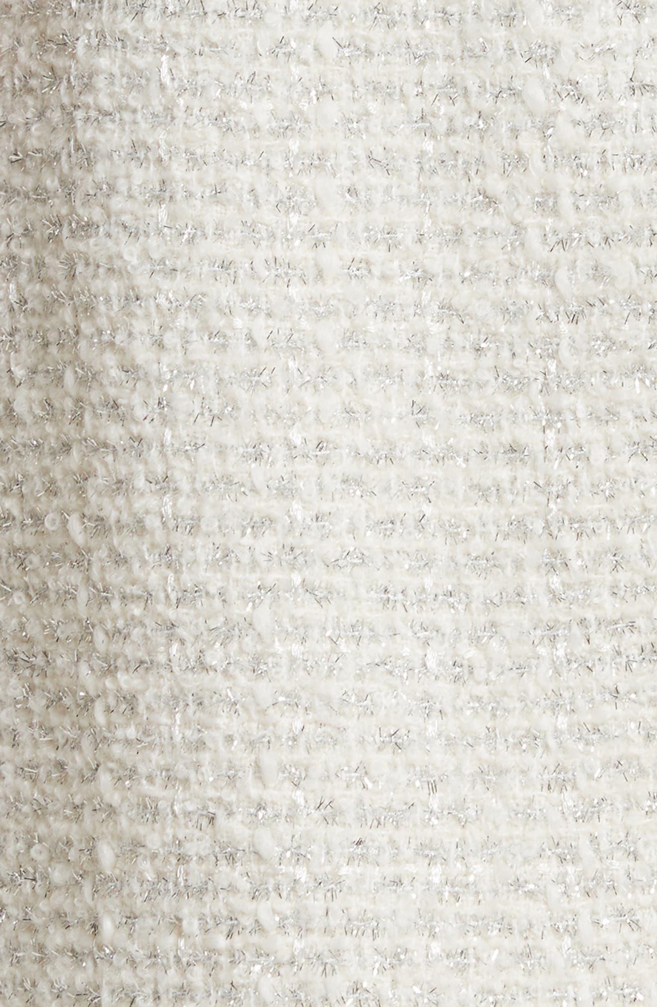 sparkle tweed skirt,                             Alternate thumbnail 5, color,                             Cream