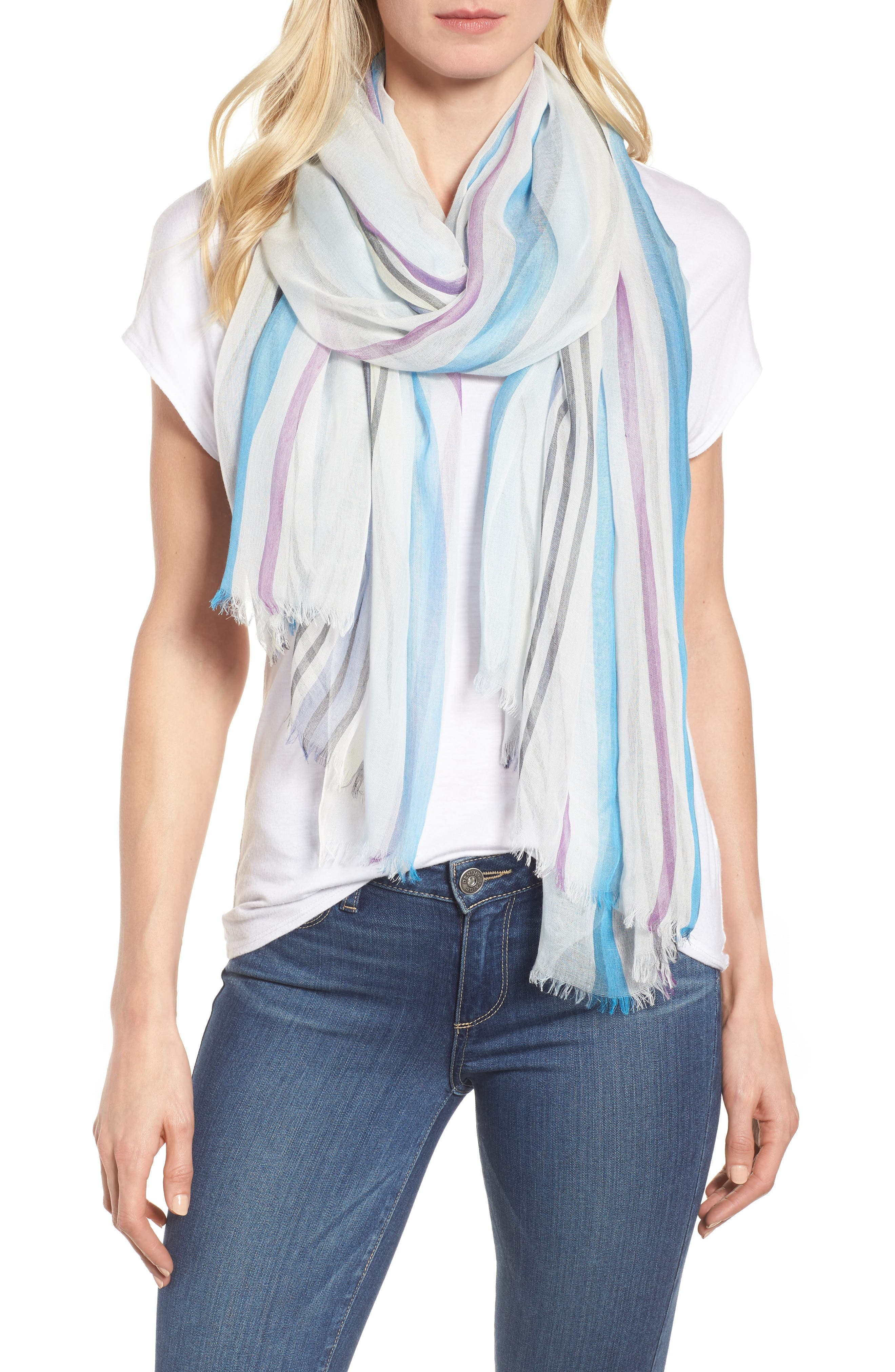Yarn Dyed Stripe Wrap,                             Main thumbnail 1, color,                             Blue Combo Fresh Stripes