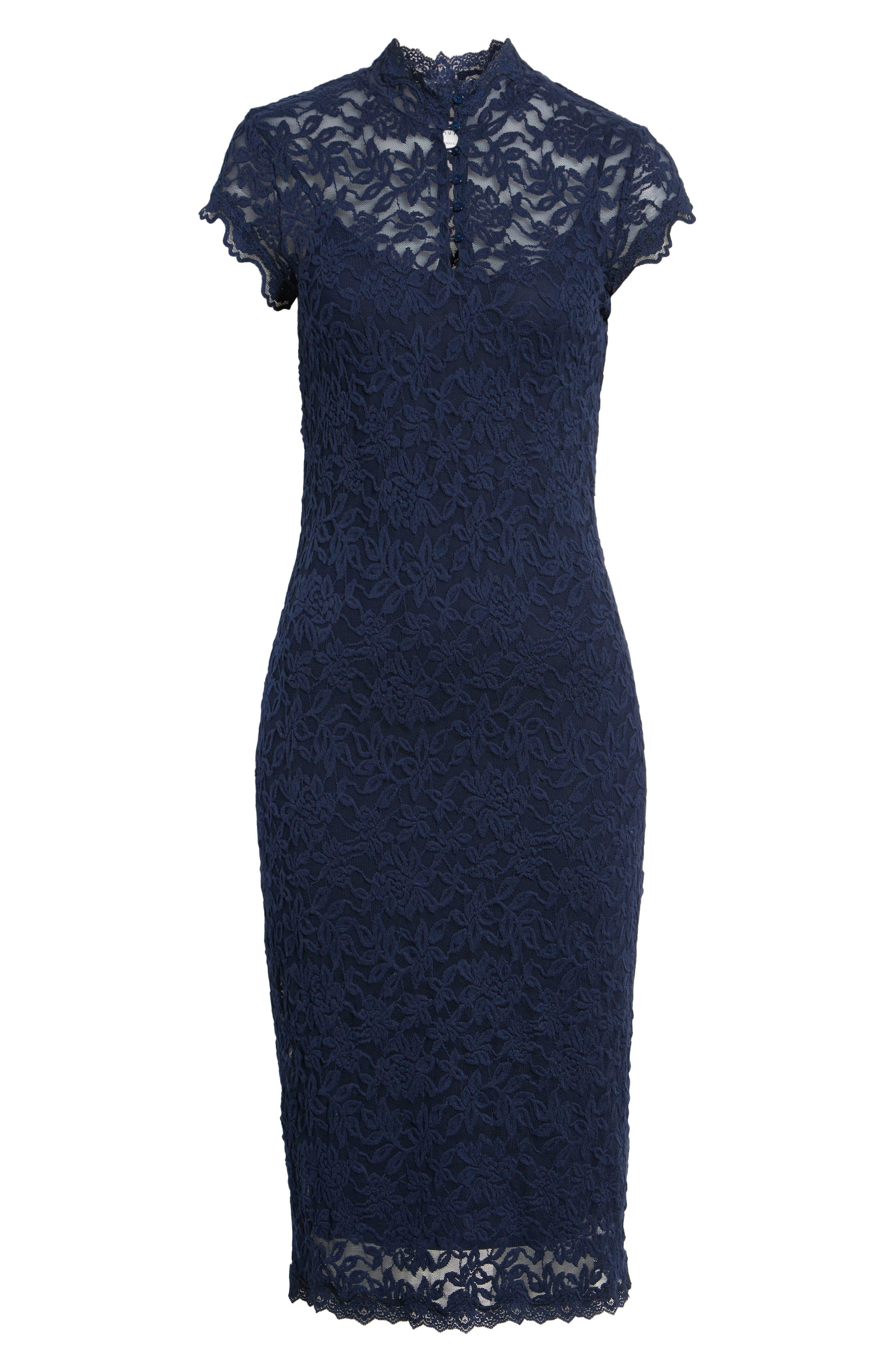 Delicia Lace Body-Con Dress,                             Alternate thumbnail 6, color,                             Dark Blue