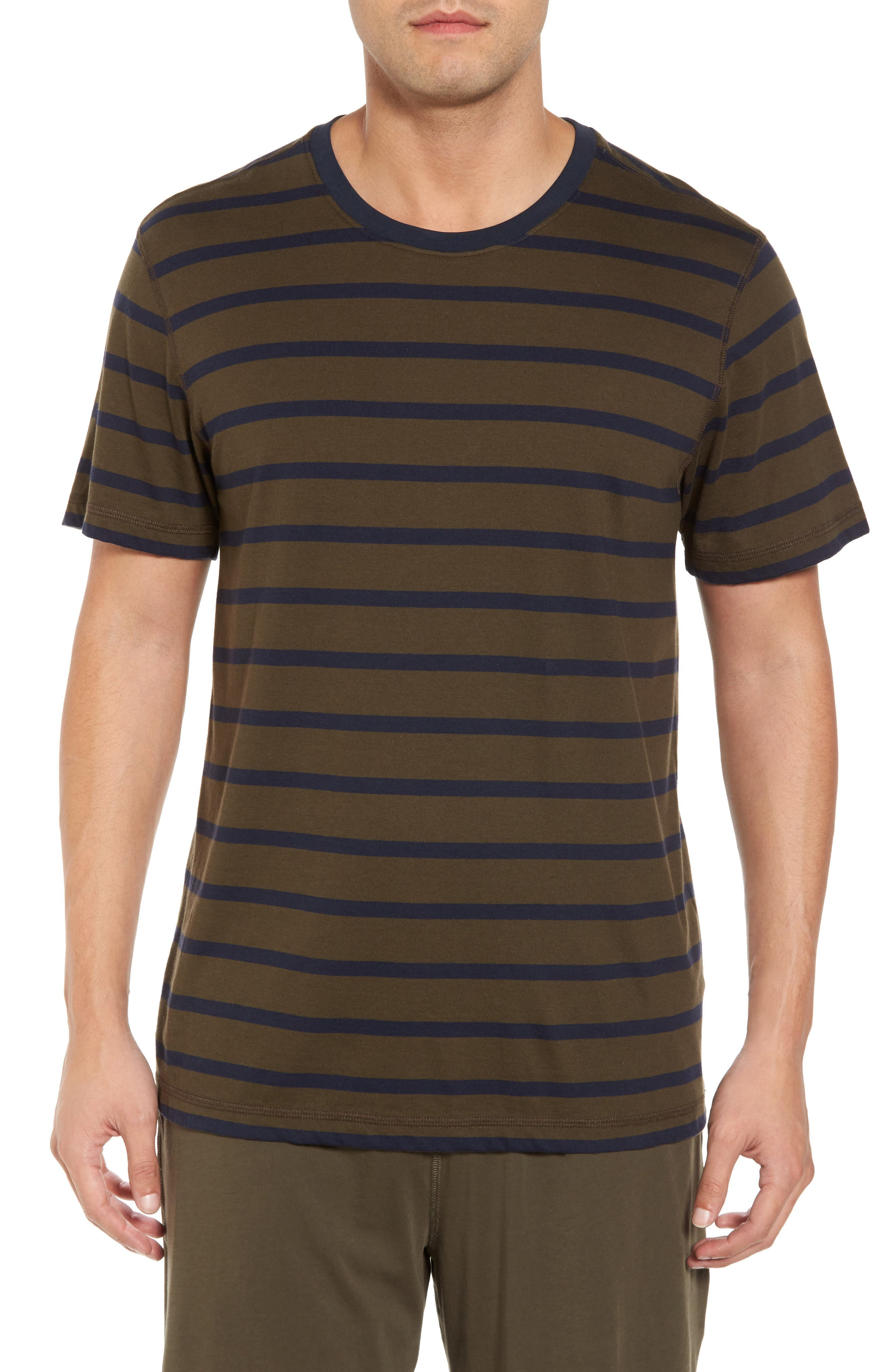 Peruvian Pima Cotton Stripe T-Shirt,                             Main thumbnail 1, color,                             Army/ Midnight Stripe