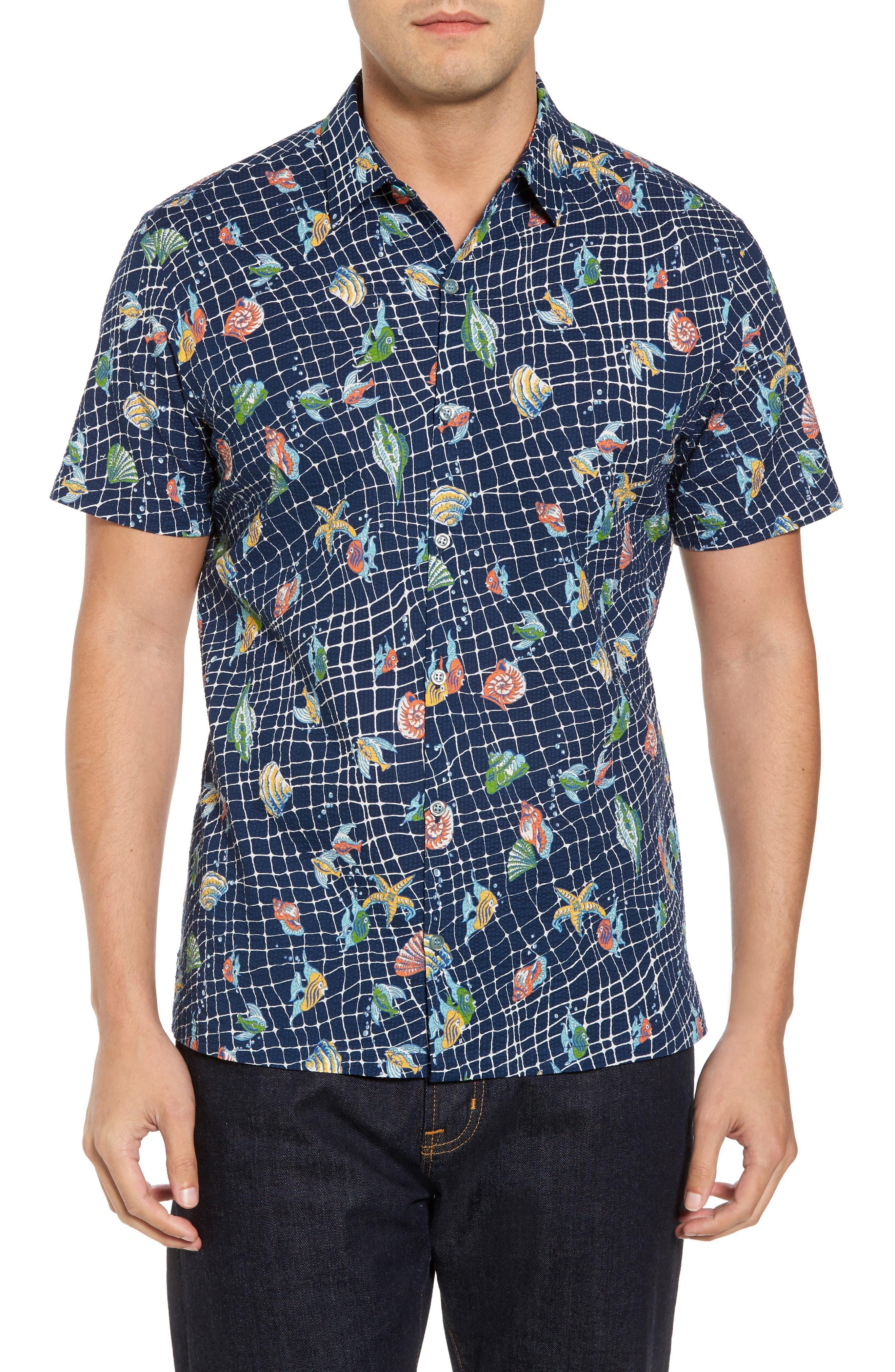 Catch All Print Sport Shirt,                         Main,                         color, Navy