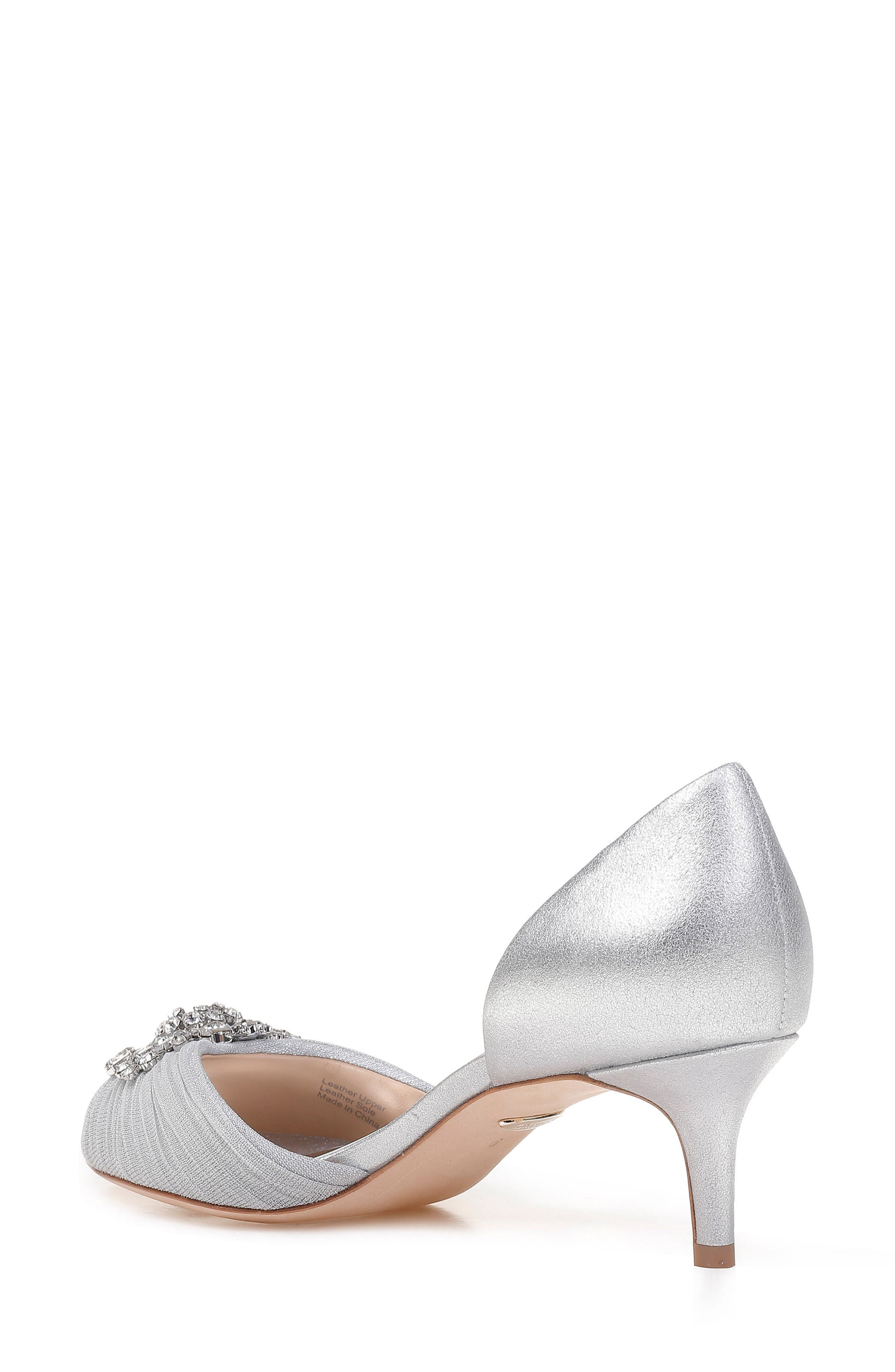 Sabine II Peep Toe Pump,                             Alternate thumbnail 2, color,                             Silver Satin